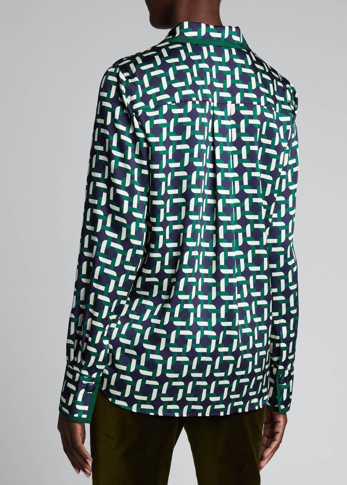 Image 2 of 5: Julianne Geo Link Print Button-Down Twill Blouse