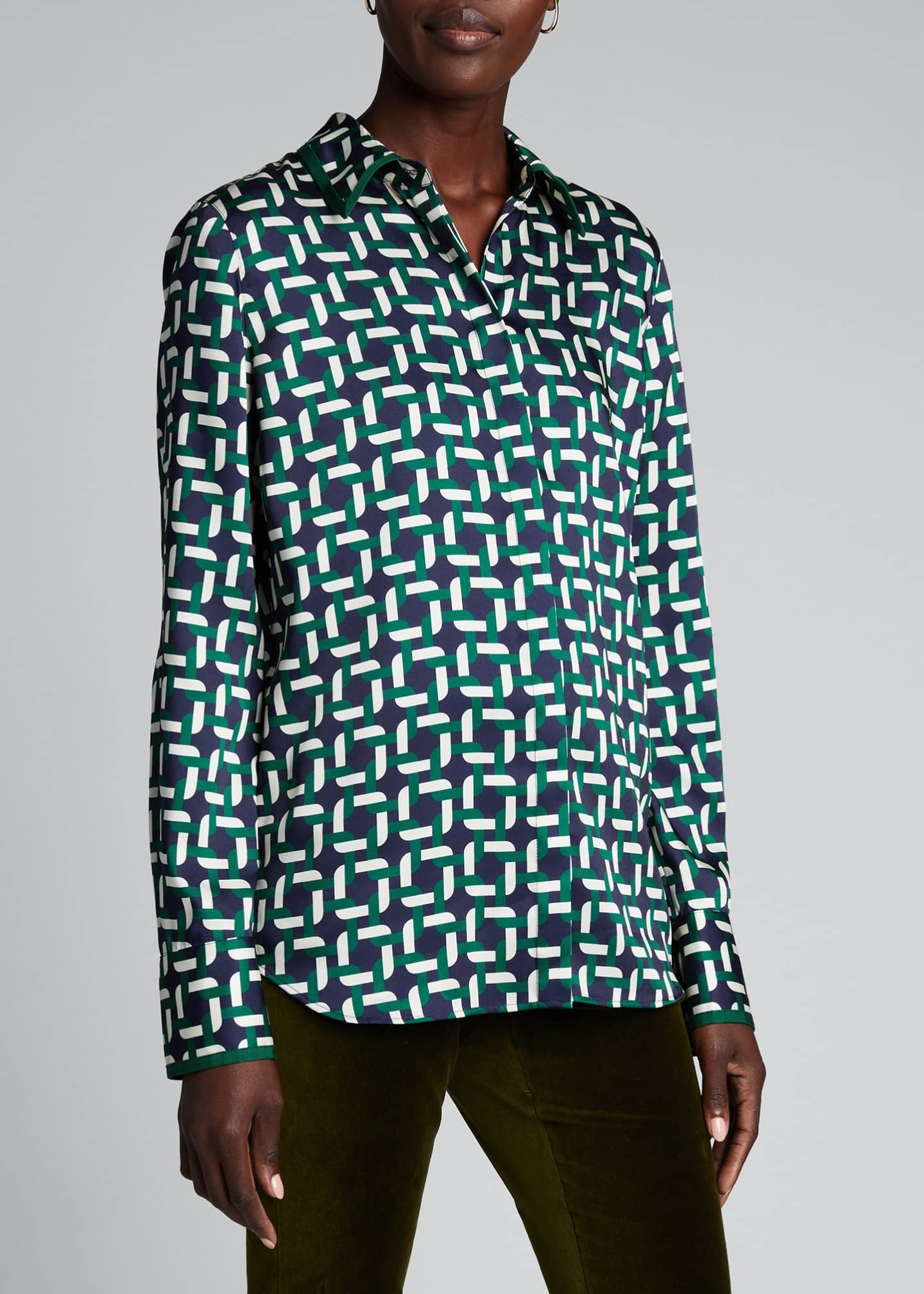 Image 3 of 5: Julianne Geo Link Print Button-Down Twill Blouse