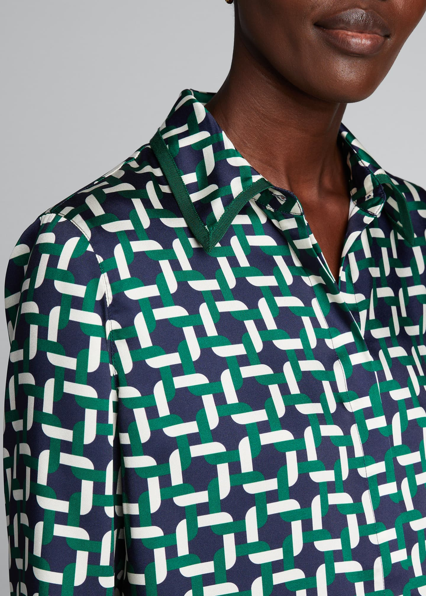 Image 4 of 5: Julianne Geo Link Print Button-Down Twill Blouse
