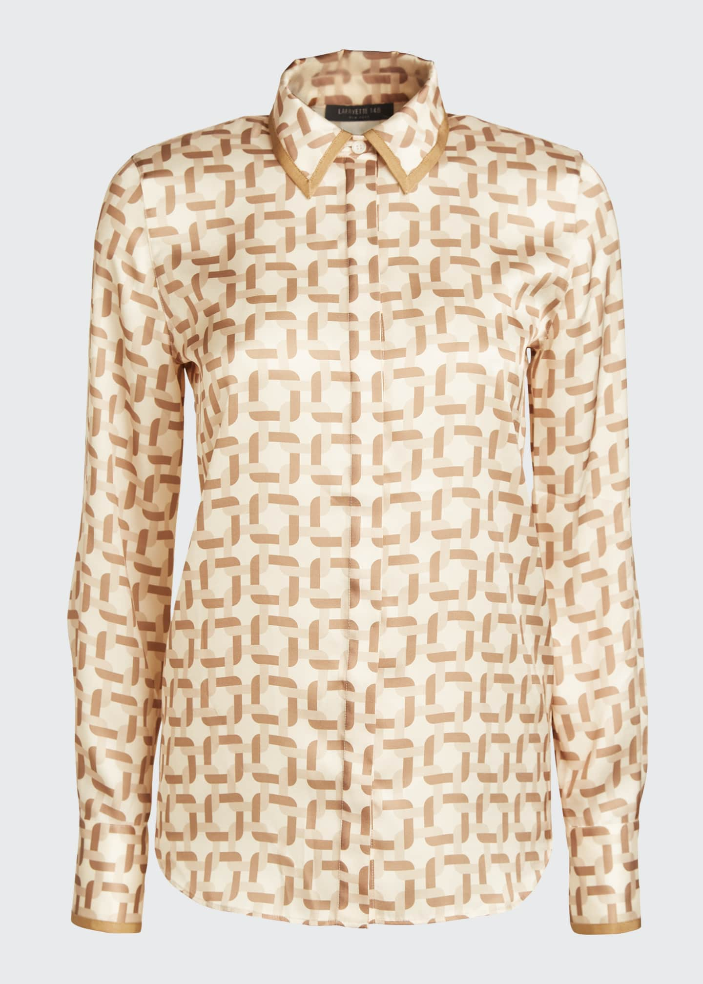 Image 5 of 5: Julianne Geo Link Print Button-Down Twill Blouse