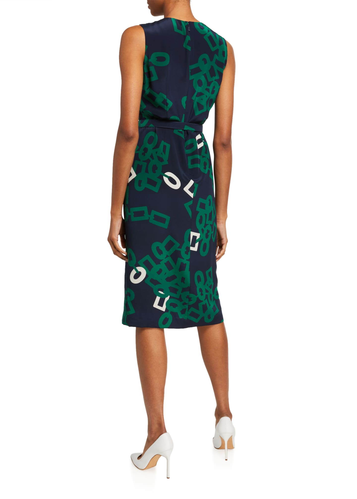 Image 2 of 2: Jude Falling Link Print Sleeveless Belted Silk Dress