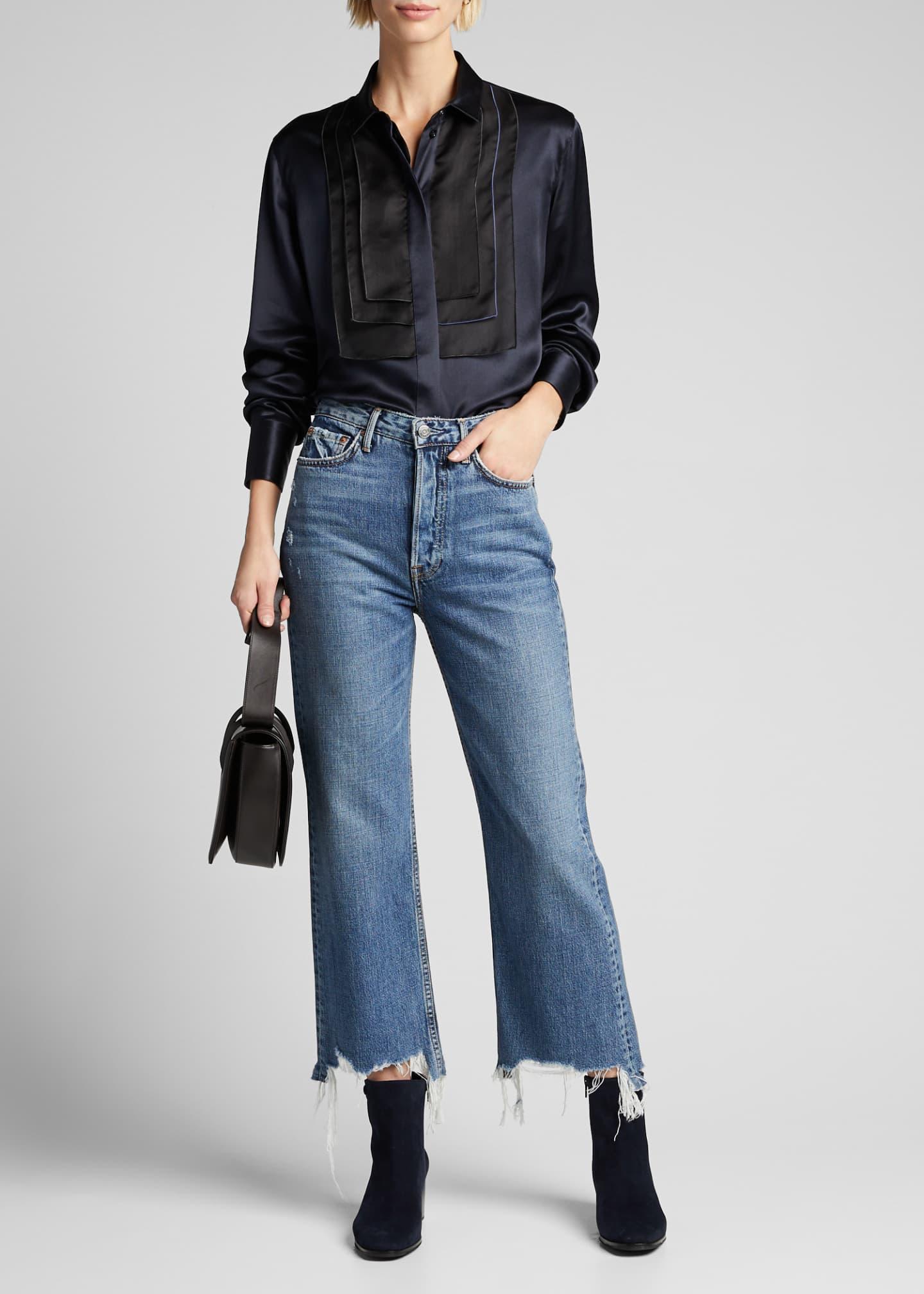 GRLFRND Bobbi High-Rise Cropped Wide-Leg Jeans