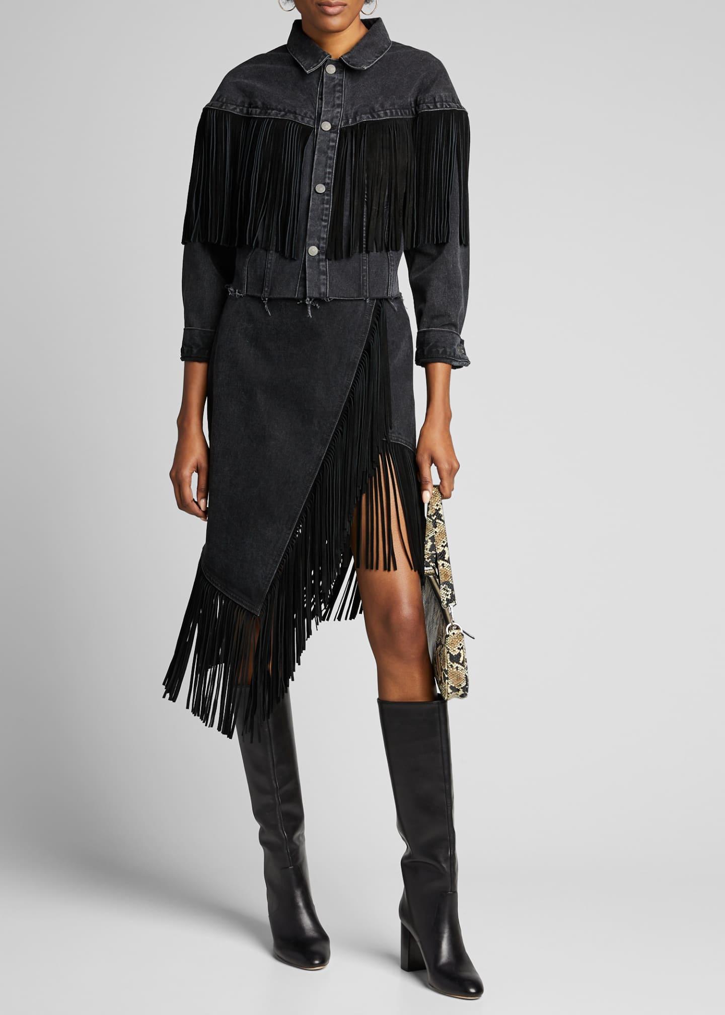 GRLFRND Fringe-Hem Asymmetric Wrap Denim Skirt