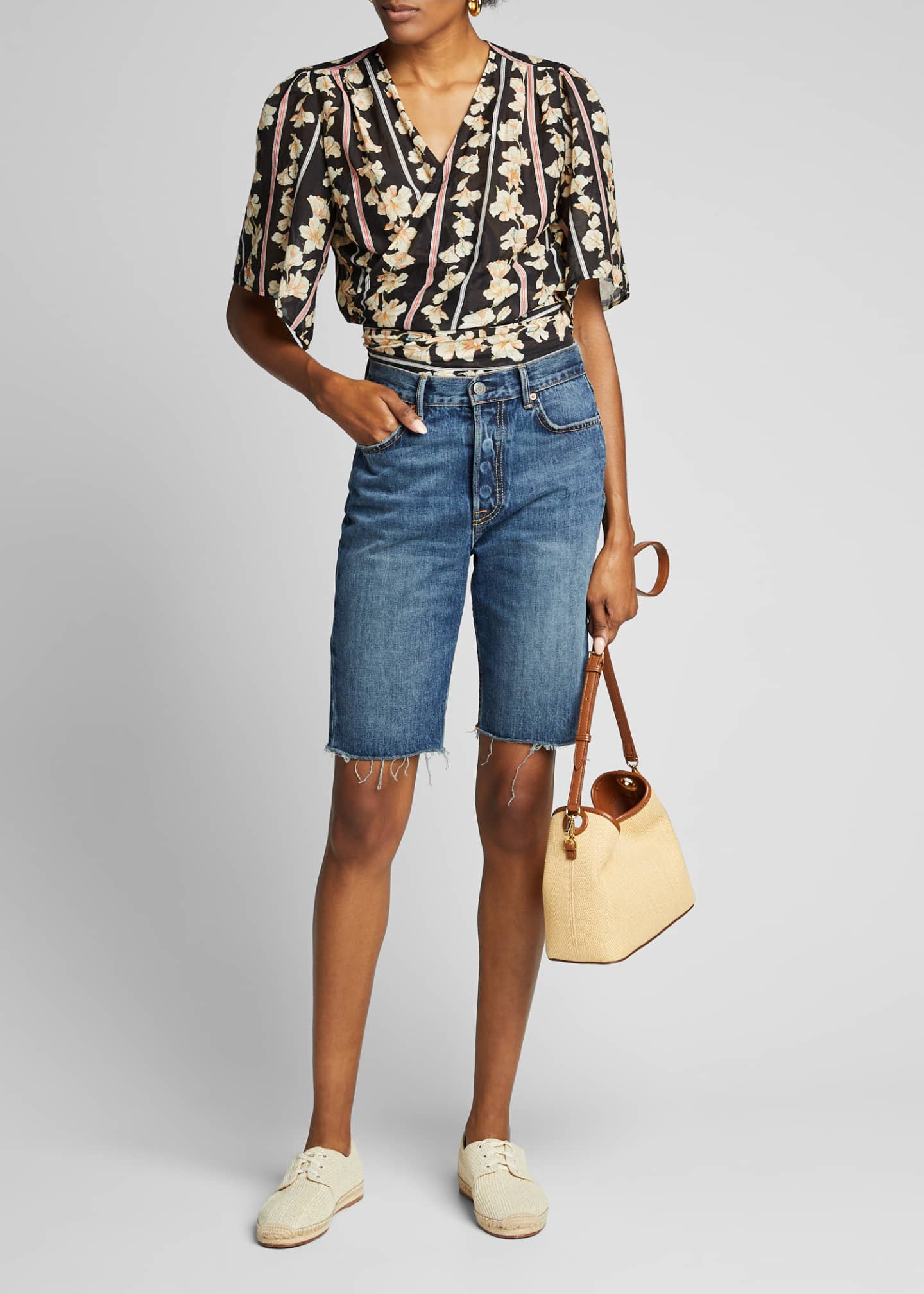 GRLFRND Beverly Frayed Denim Bermuda Shorts