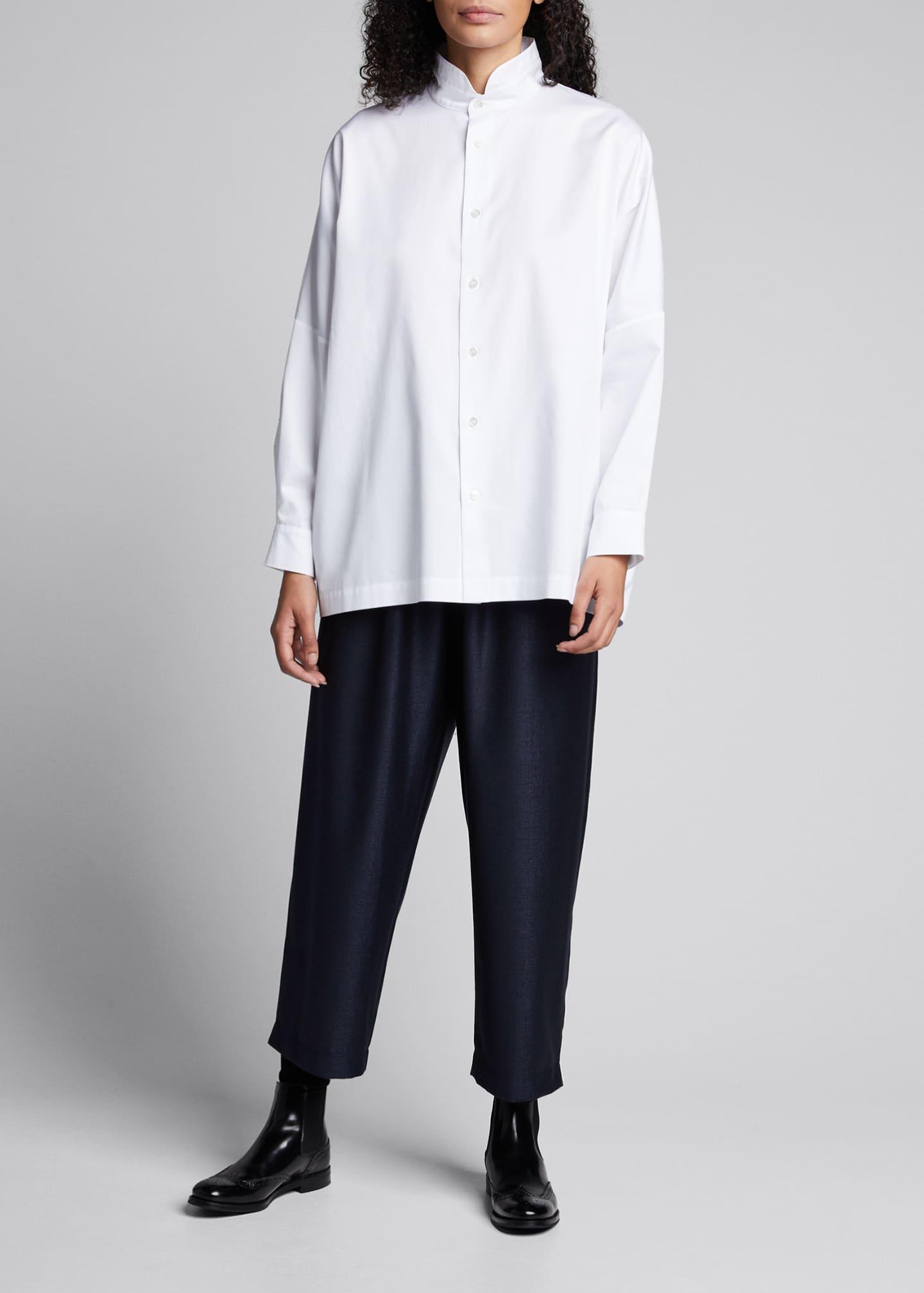 Eskandar Sloped-Shoulder Stand-Collar Shirt