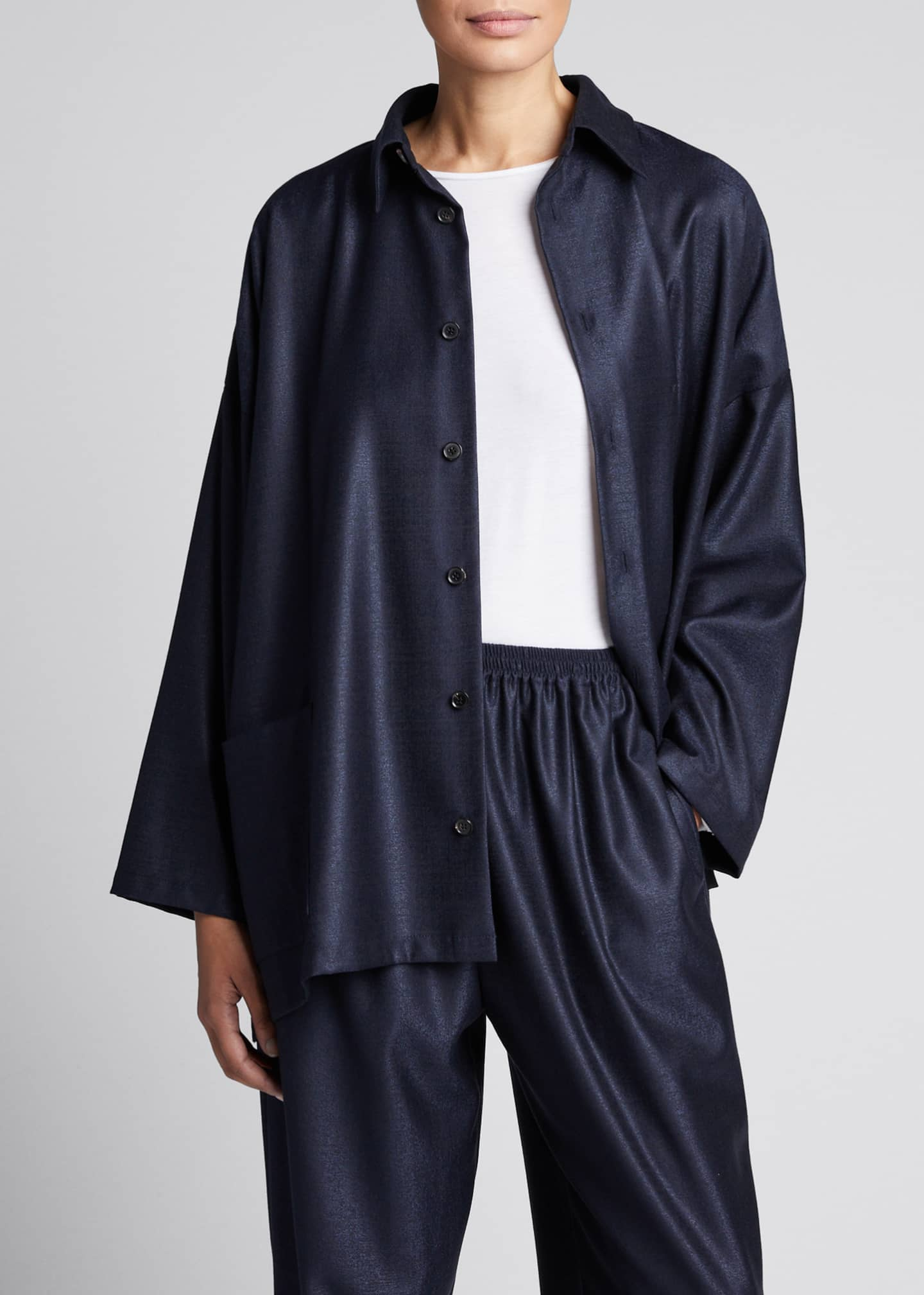 Image 3 of 5: Wool-Silk Wide A-Line Jacket, Navy