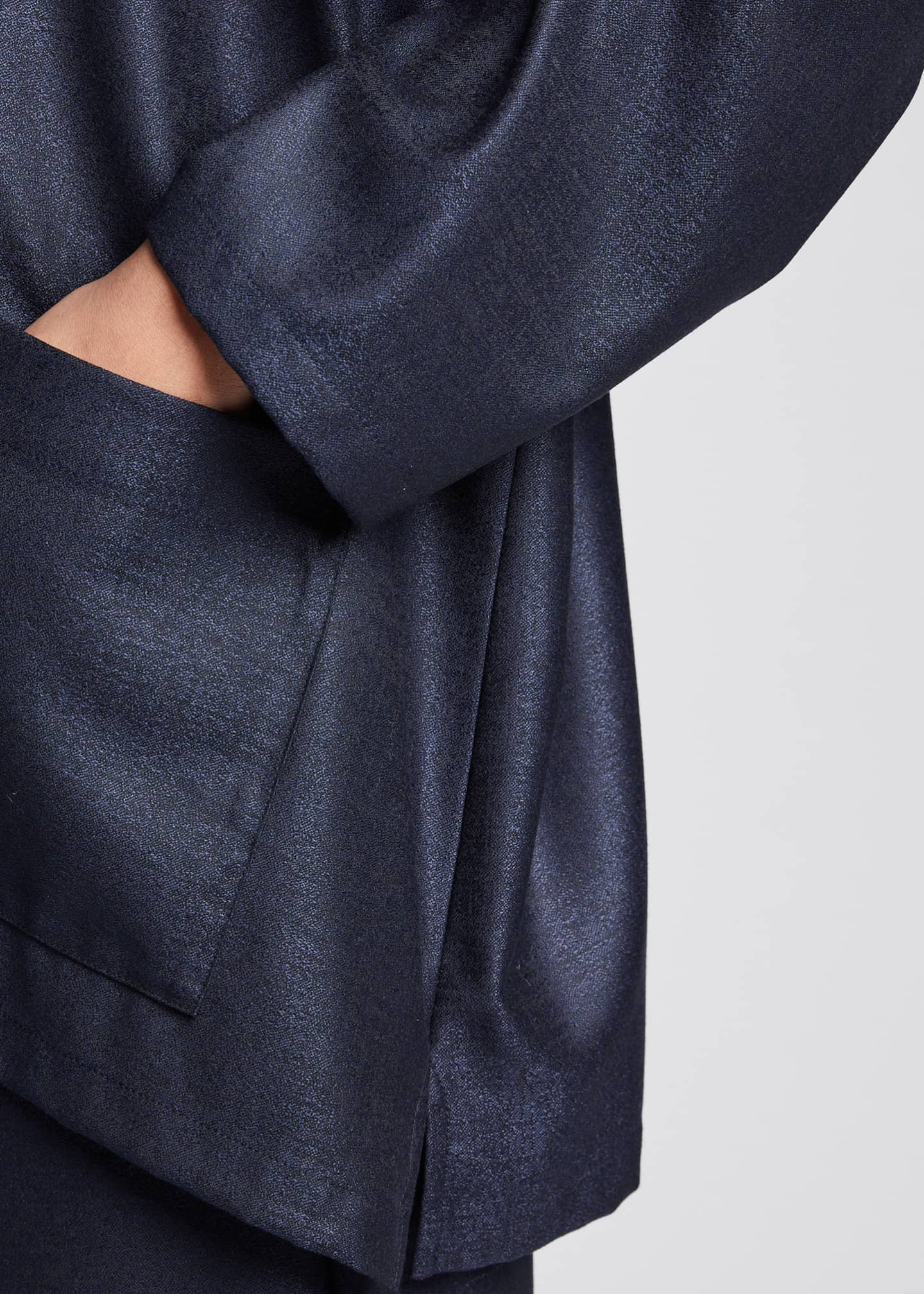 Image 4 of 5: Wool-Silk Wide A-Line Jacket, Navy