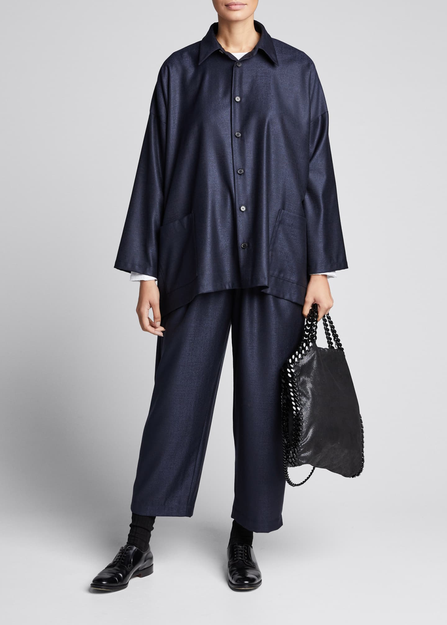 Image 1 of 5: Wool-Silk Wide A-Line Jacket, Navy