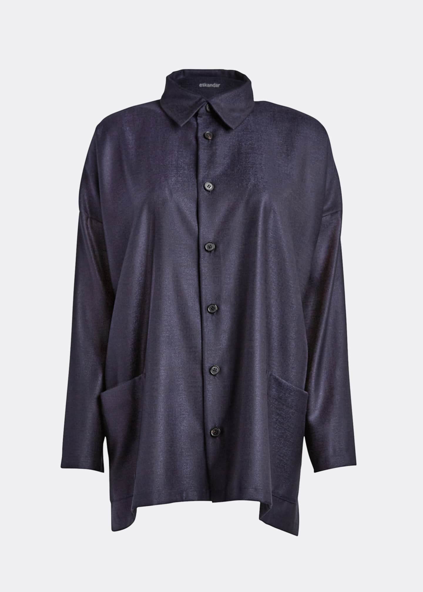 Image 5 of 5: Wool-Silk Wide A-Line Jacket, Navy