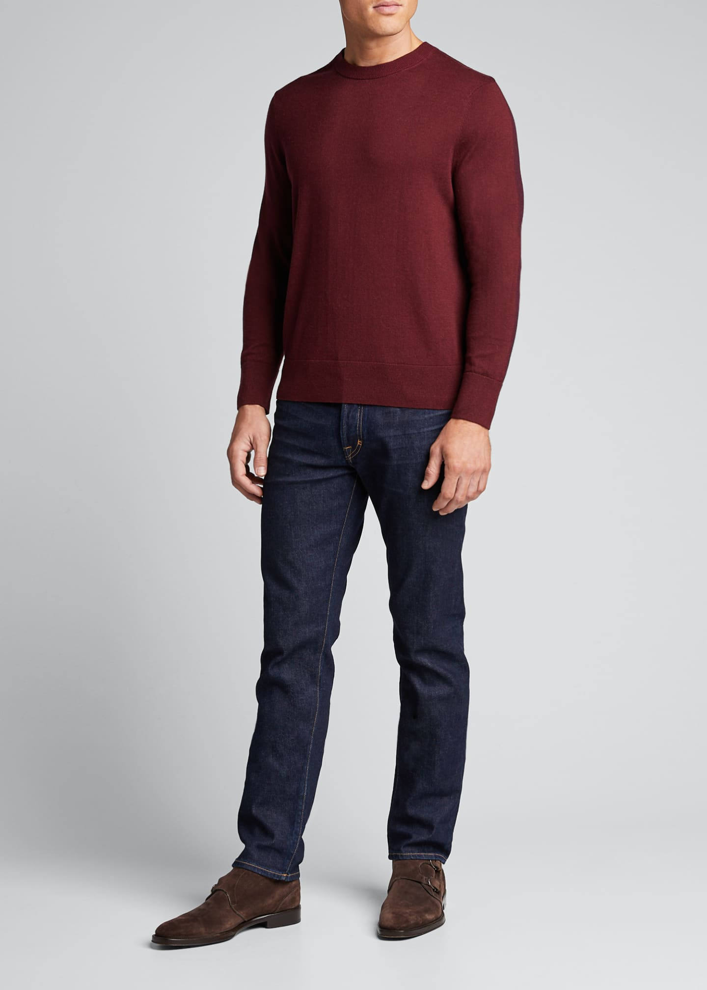 Image 1 of 5: Men's Barron Cotton-Silk Colorblock Sweater