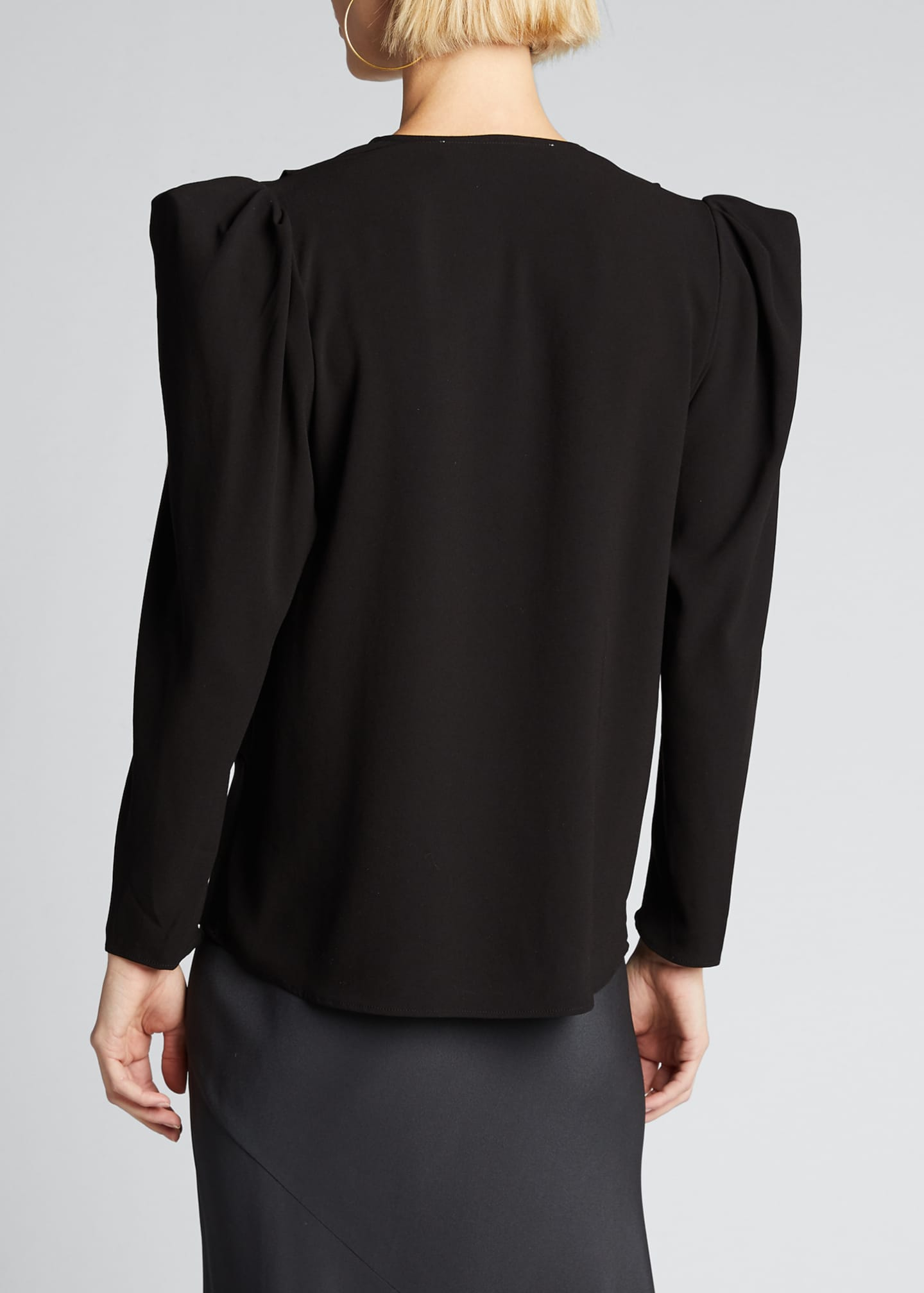Image 2 of 5: Charina Strong-Shoulder V-Neck Blouse