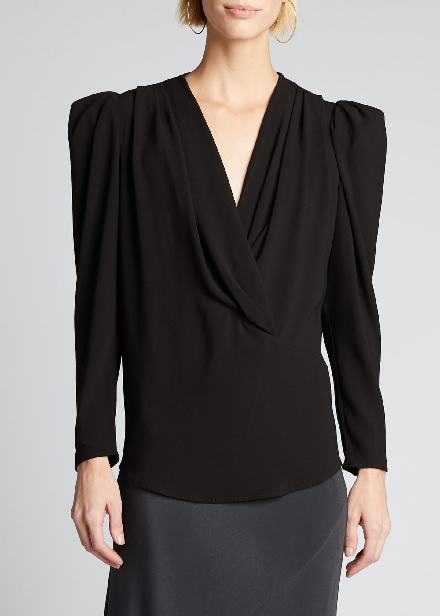Image 3 of 5: Charina Strong-Shoulder V-Neck Blouse