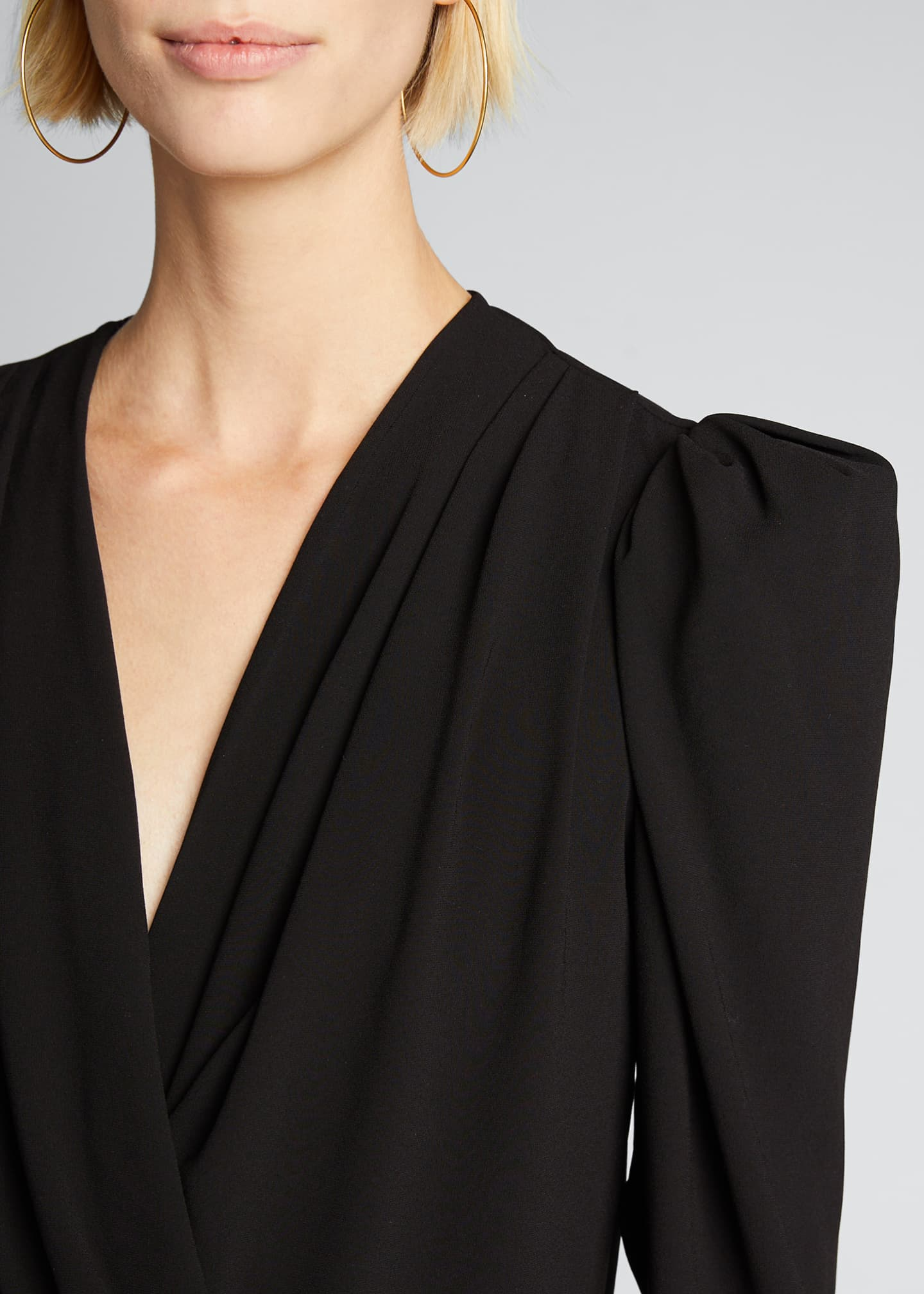 Image 4 of 5: Charina Strong-Shoulder V-Neck Blouse