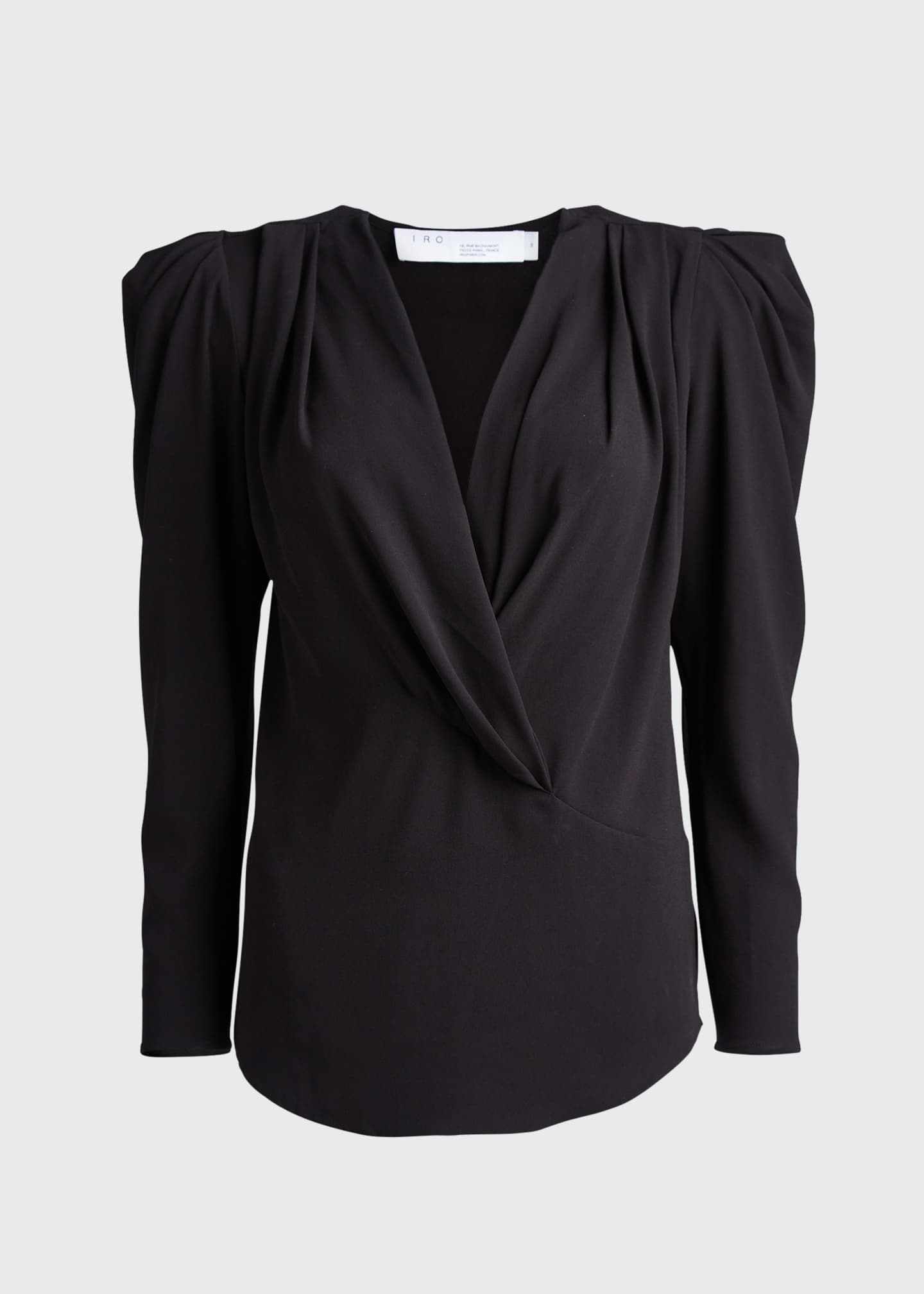 Image 5 of 5: Charina Strong-Shoulder V-Neck Blouse