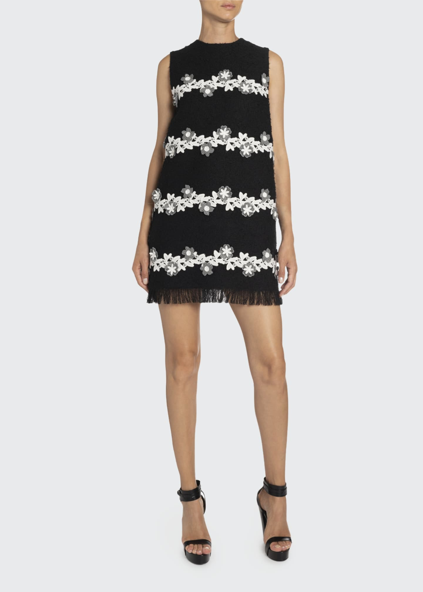 Image 1 of 2: Floral-Striped Tweed Shift Dress