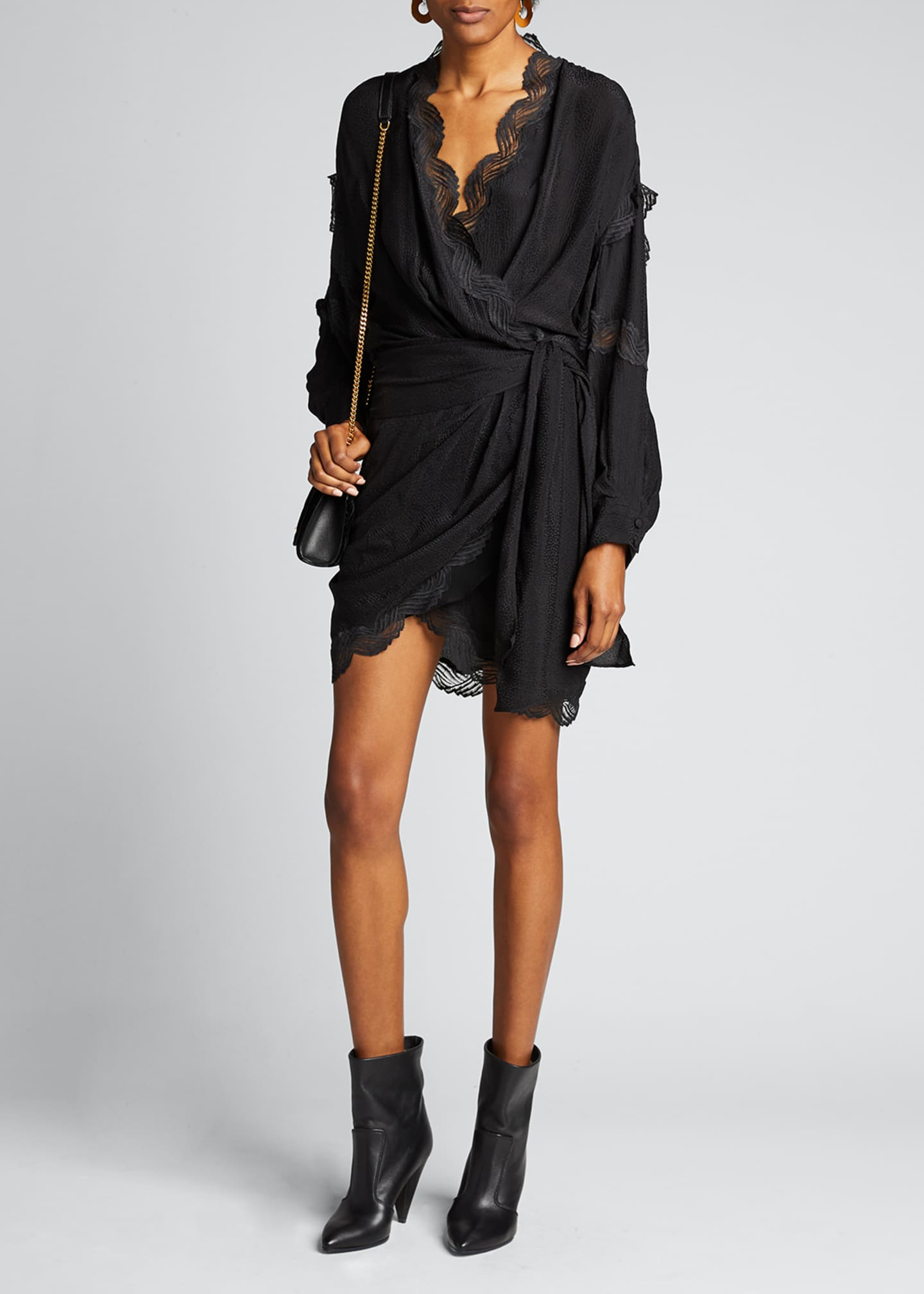 Iro Ragna Jacquard Wrap Dress with Lace Trim