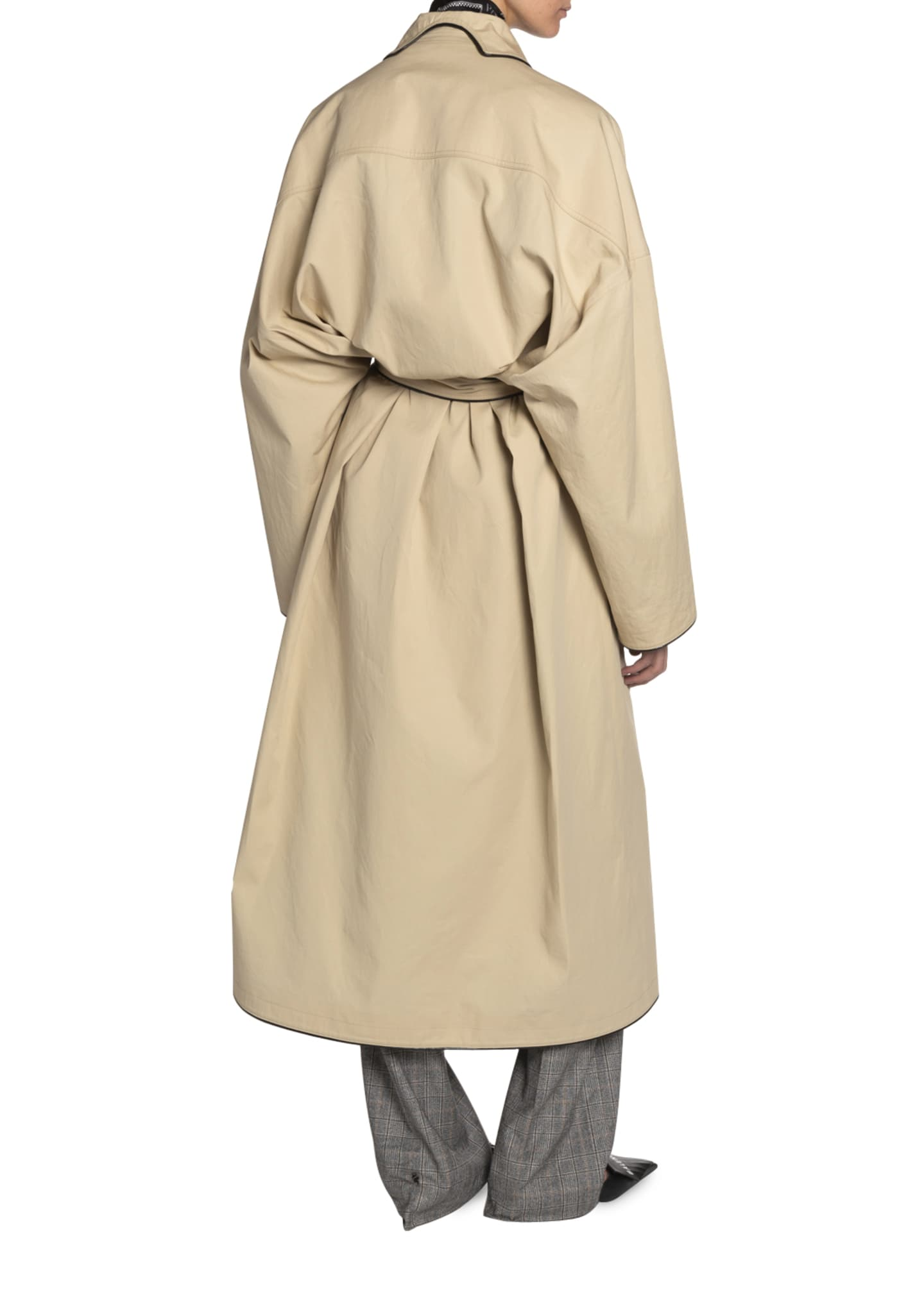 Image 2 of 3: Wrapped Cotton Cocoon Coat