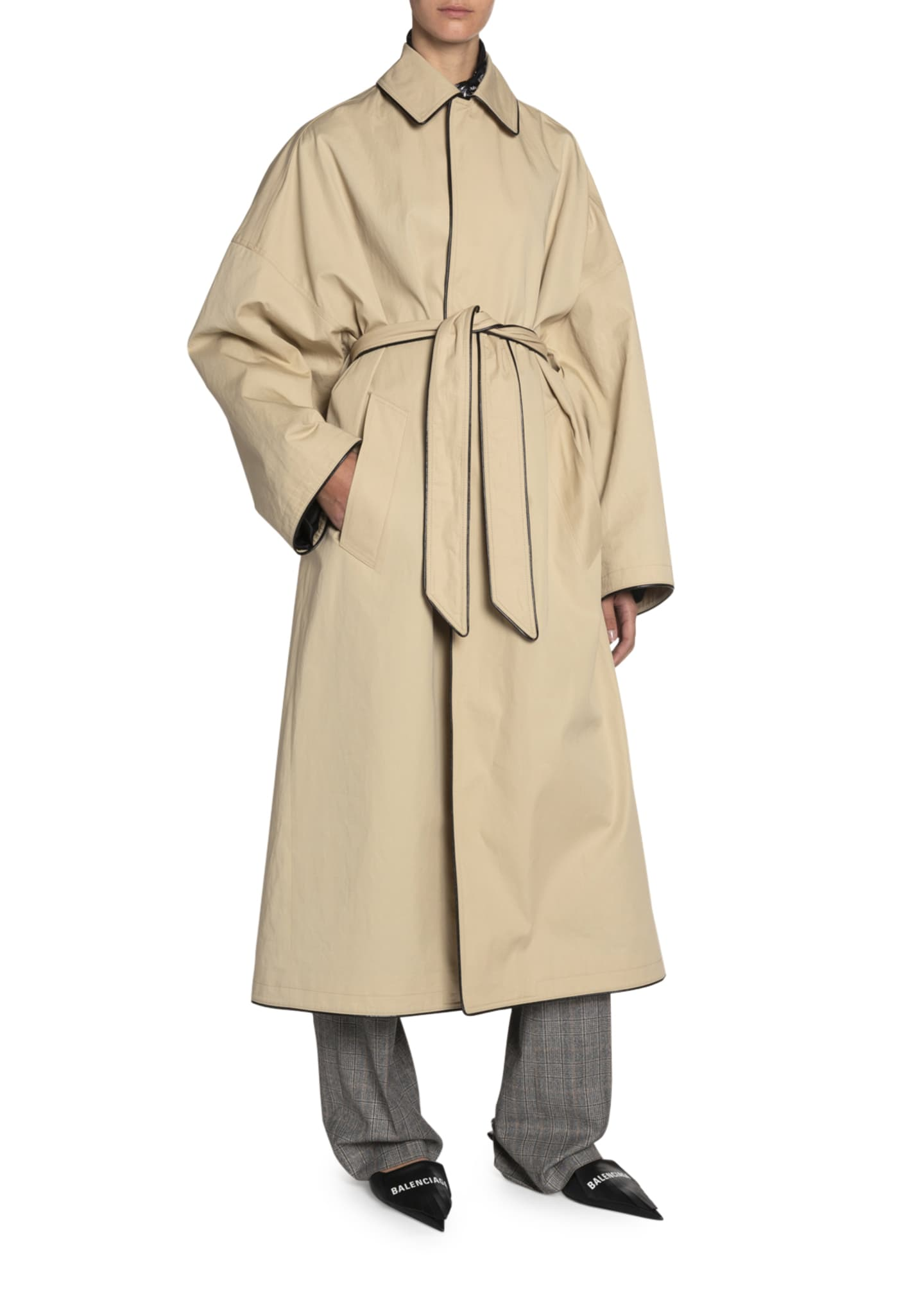 Image 3 of 3: Wrapped Cotton Cocoon Coat
