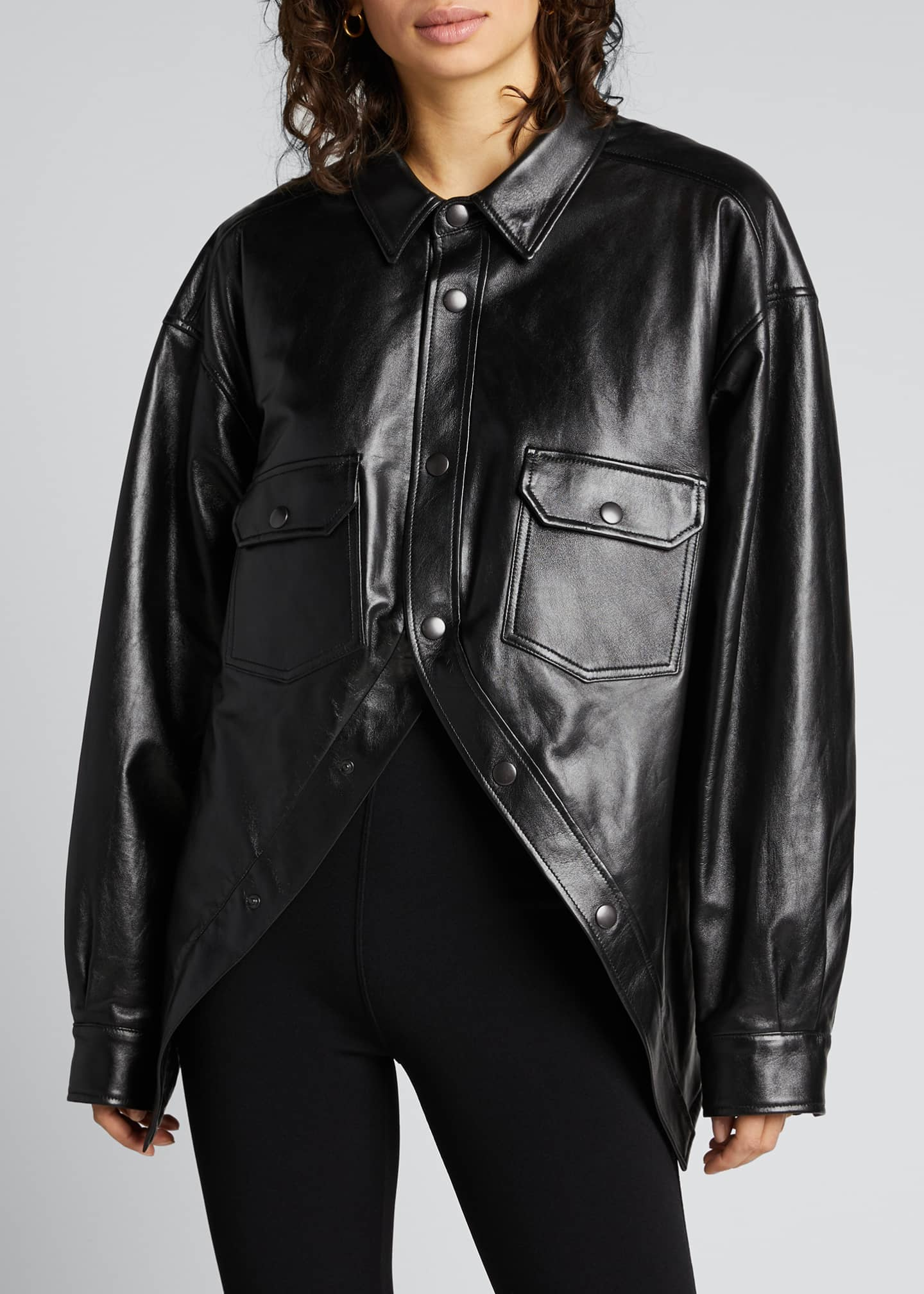 Image 3 of 5: Leather Swing Shirt