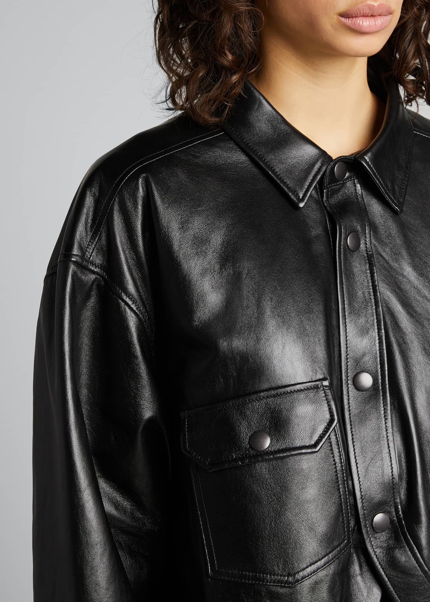 Image 4 of 5: Leather Swing Shirt