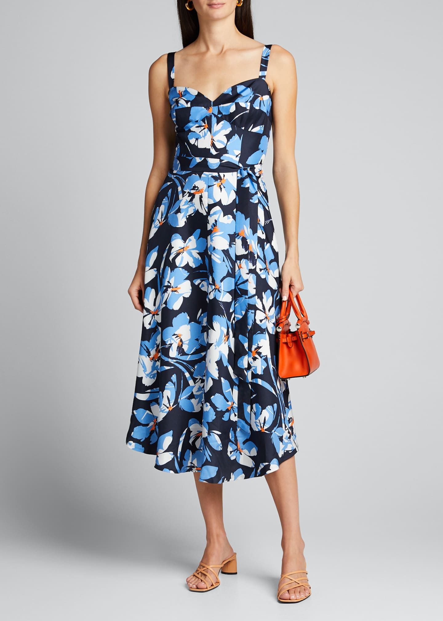 Milly Hibiscus Print Silk Twill Bustier Midi Dress
