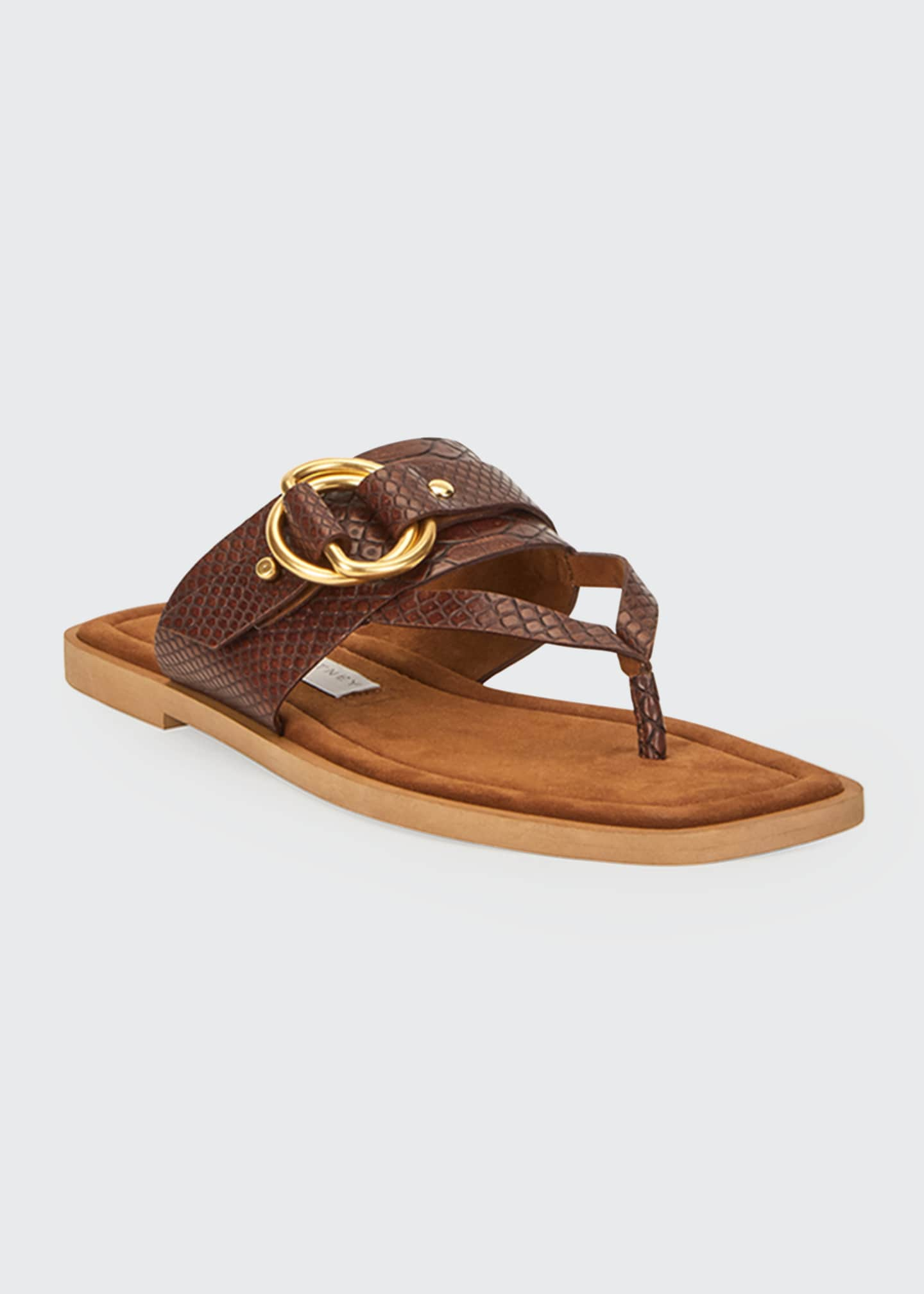 Image 2 of 4: Flat Exotic-Print Sandals