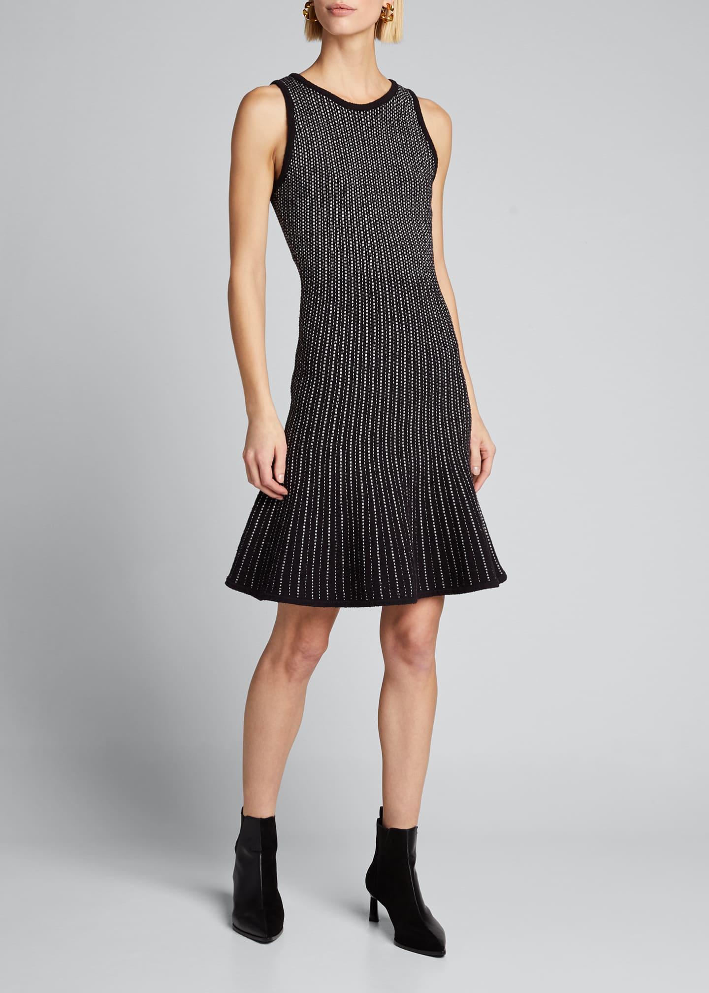 Image 3 of 5: Tweed Sleeveless Fit & Flow Dress