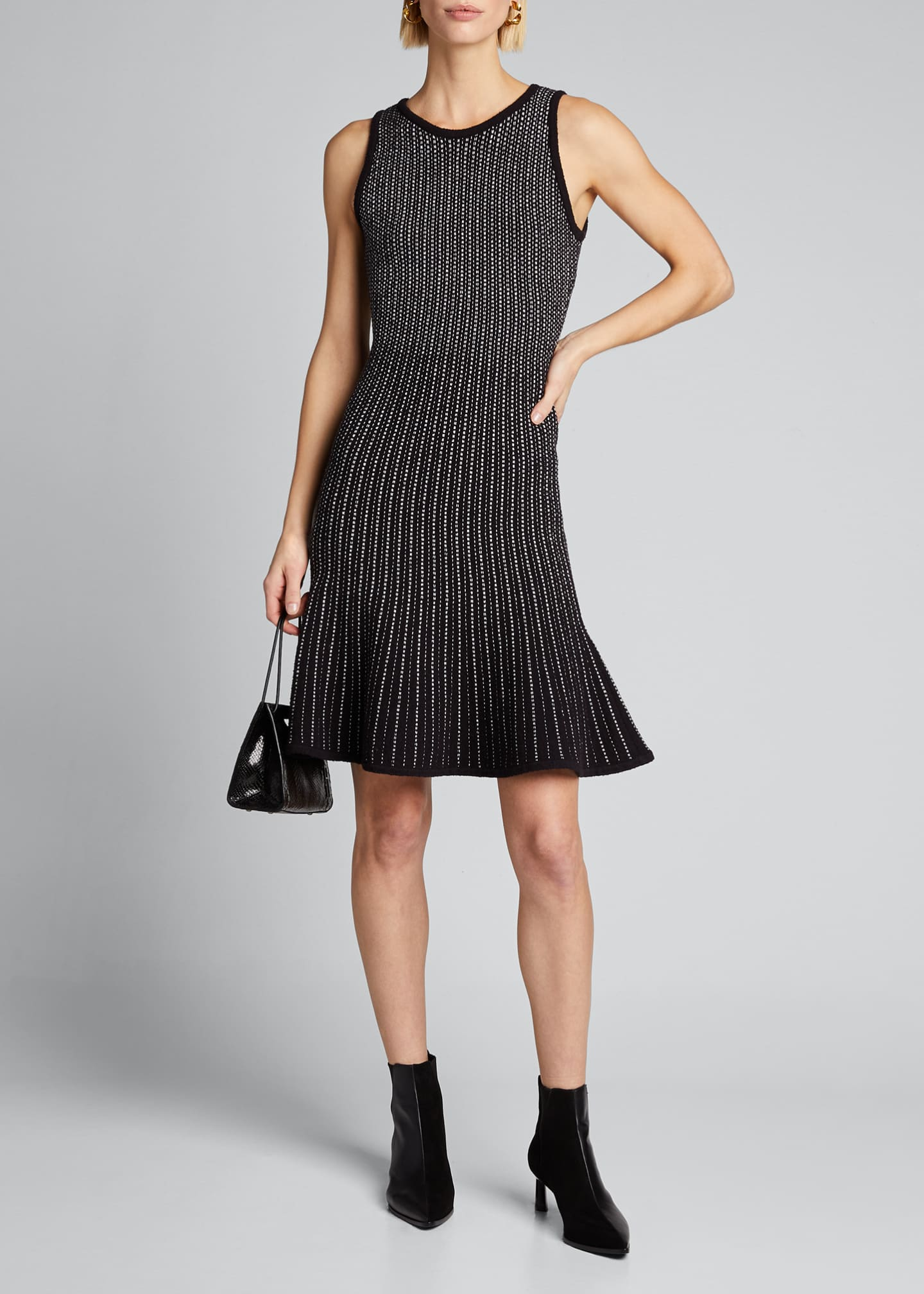 Image 1 of 5: Tweed Sleeveless Fit & Flow Dress