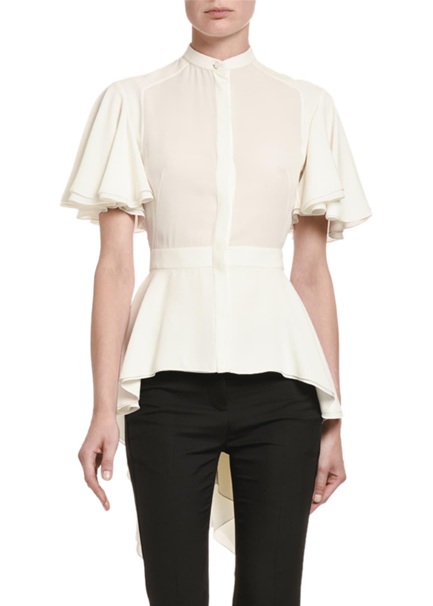 Alexander McQueen Silk High-Low Flutter-Sleeve Shirt