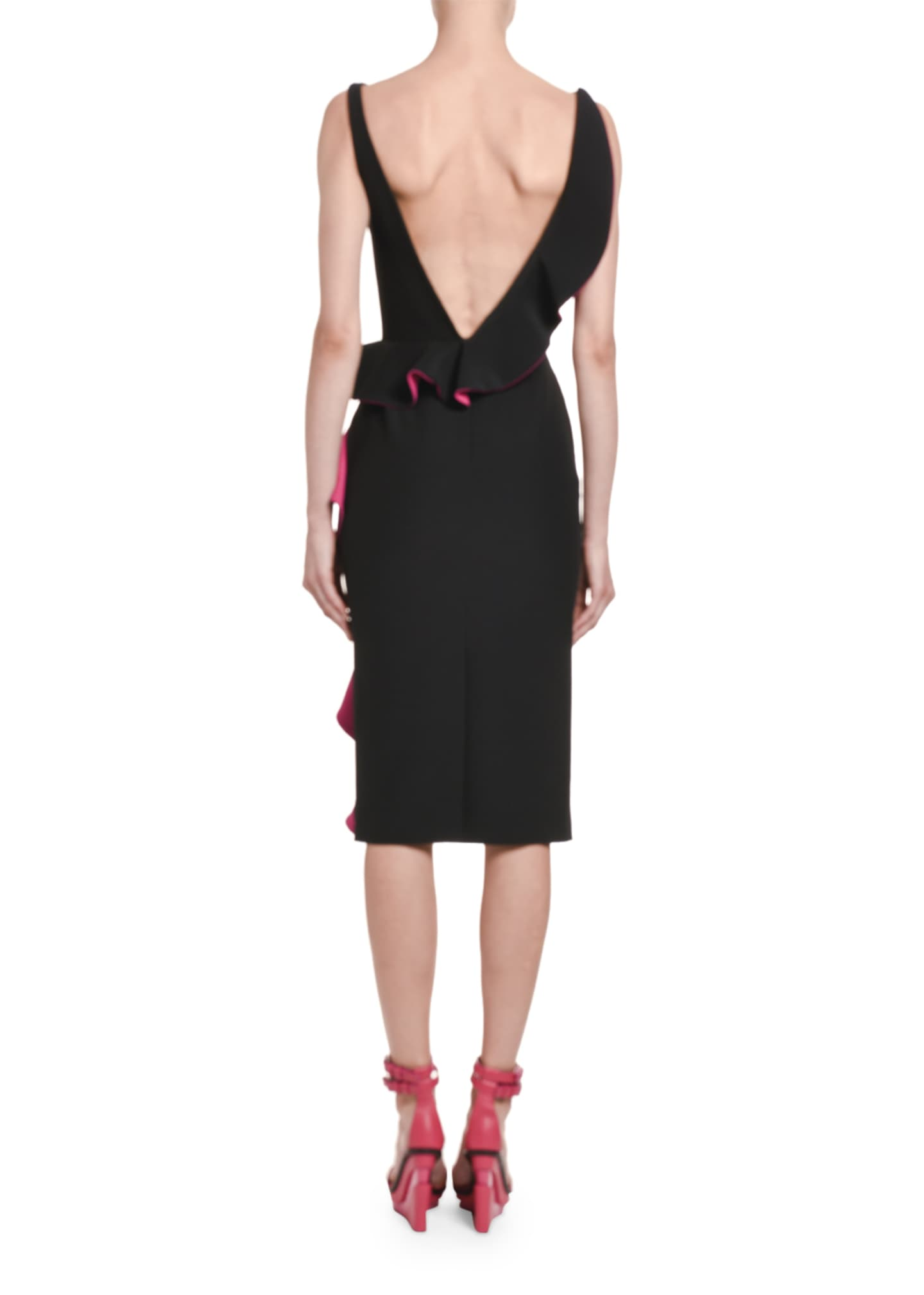 Image 2 of 3: Contrast-Face Ruffled Cutout Midi Dress