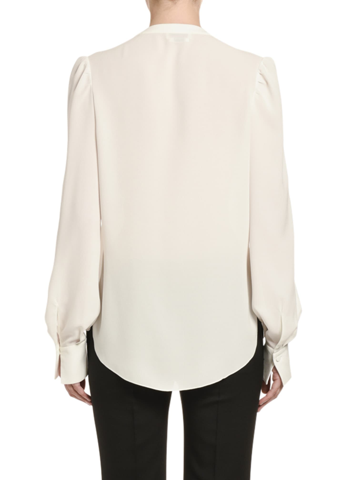 Image 2 of 2: Silk Ruffled-Front V-Neck Blouse