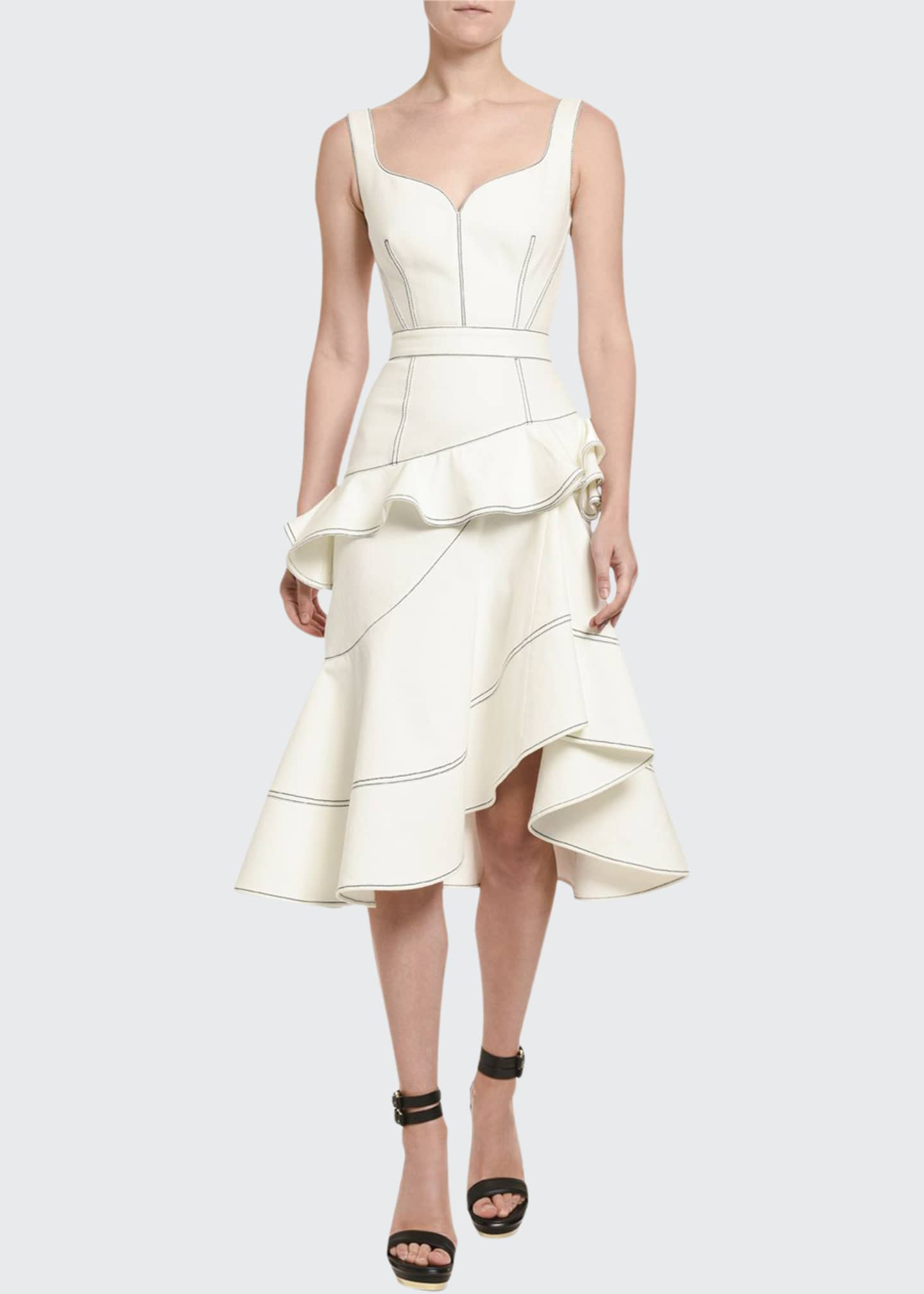 Alexander McQueen Contrast-Stitched Ruffle-Front Dress