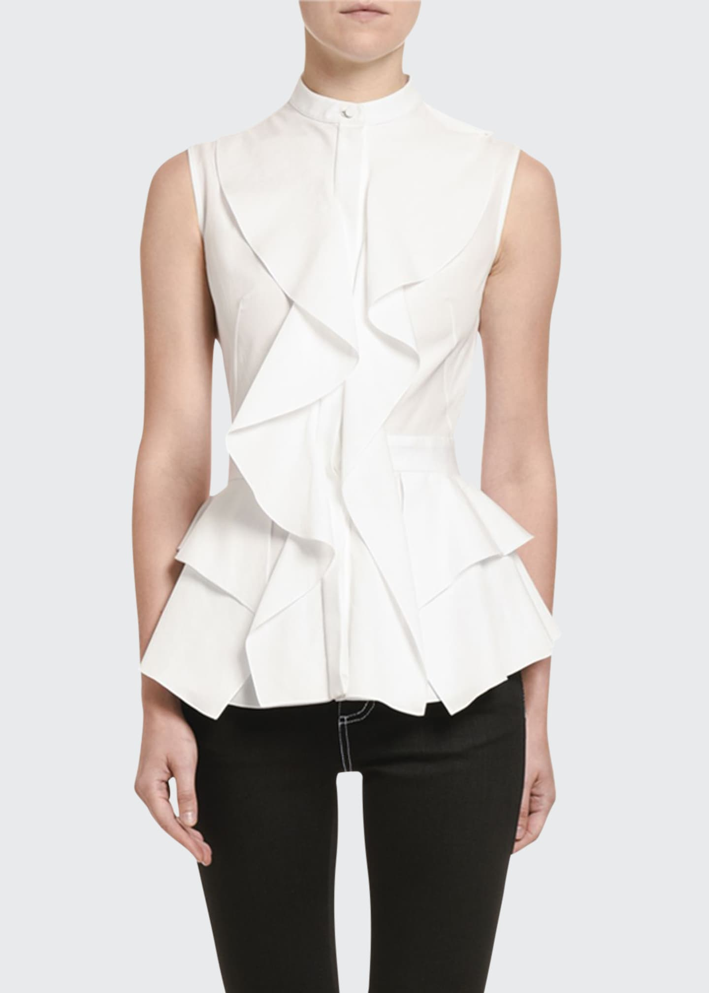 Alexander McQueen Poplin Ruffled-Front Sleeveless Top
