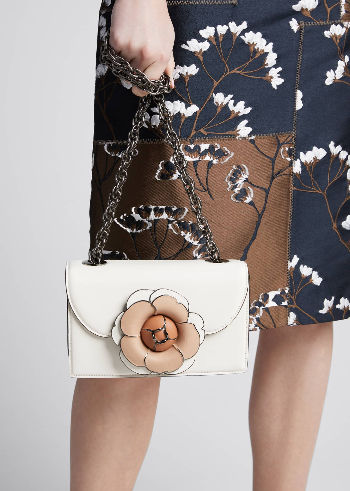 Image 2 of 5: Tro Flower Leather Shoulder Bag