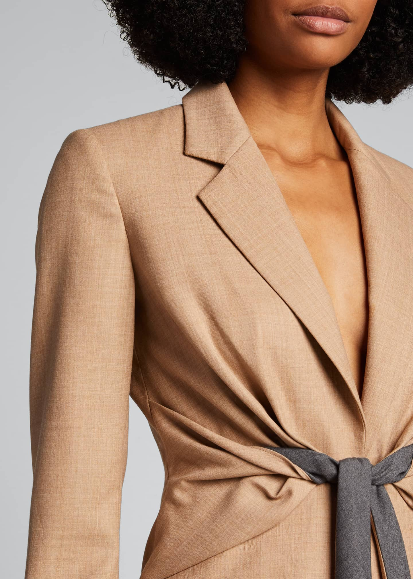 Image 4 of 5: Grant Knotted-Waist Wool Blazer