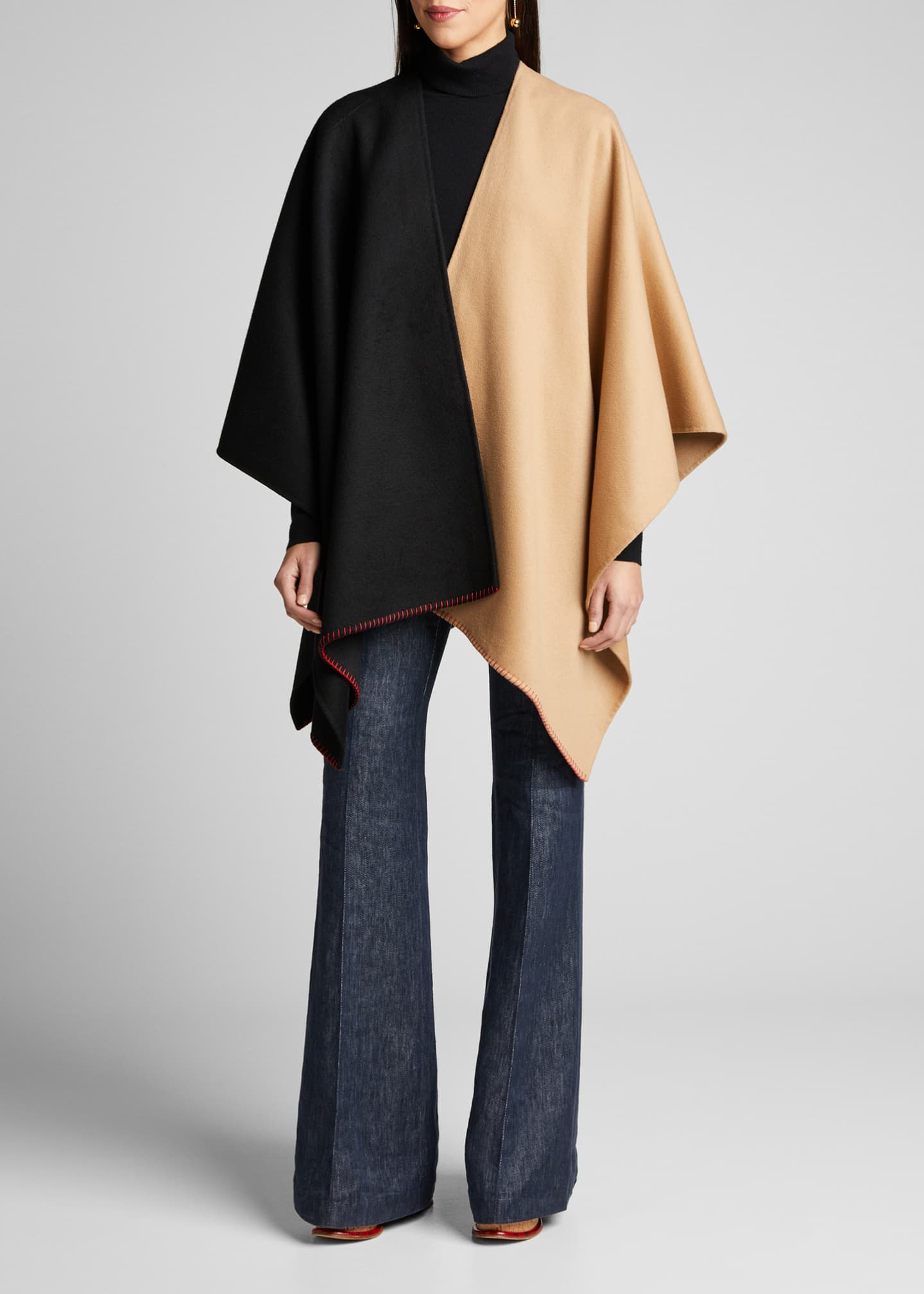 Gabriela Hearst Francis Cashmere Two-Tone Stitched Poncho
