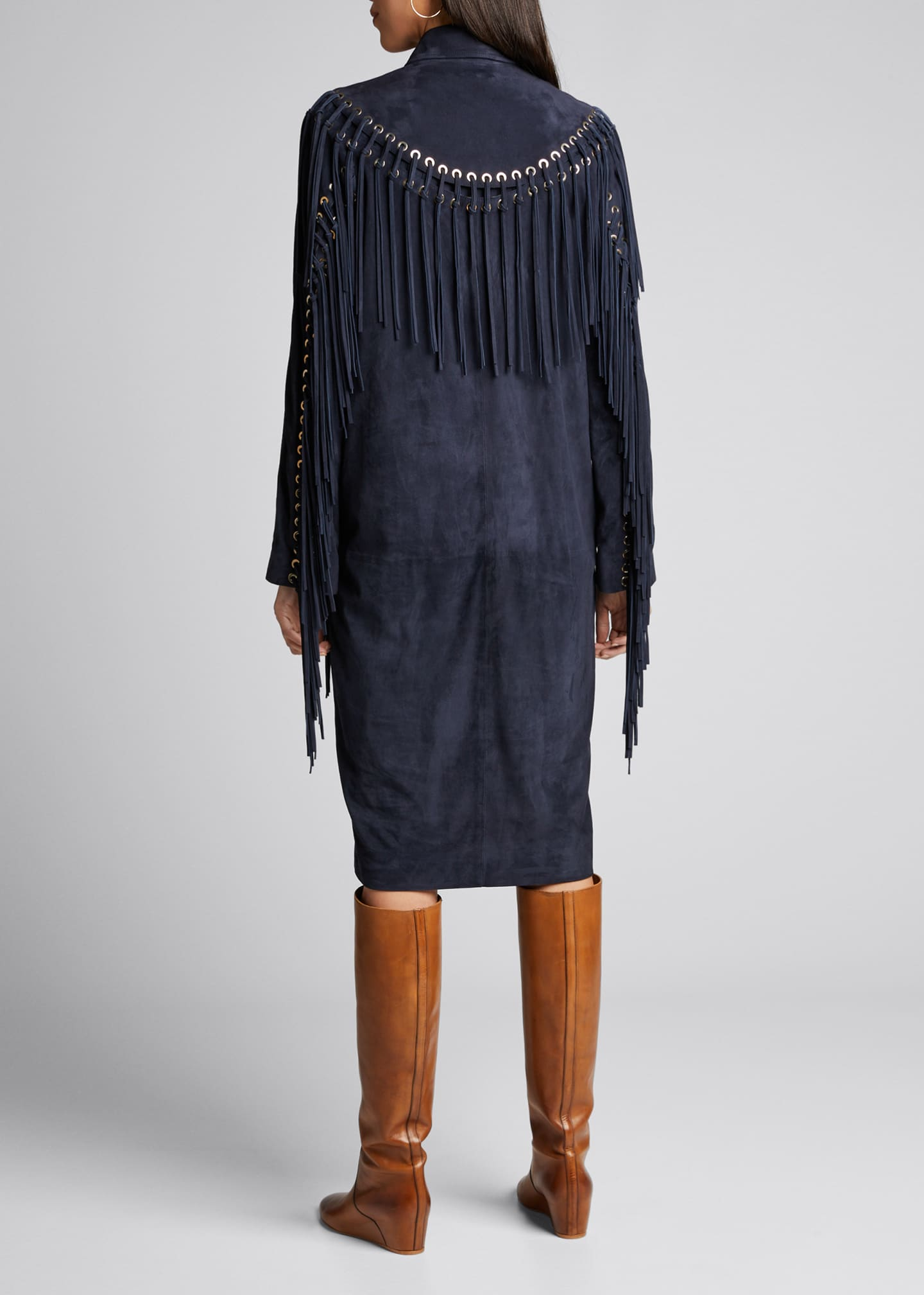 Image 2 of 4: Calgary Fringed Suede Coat
