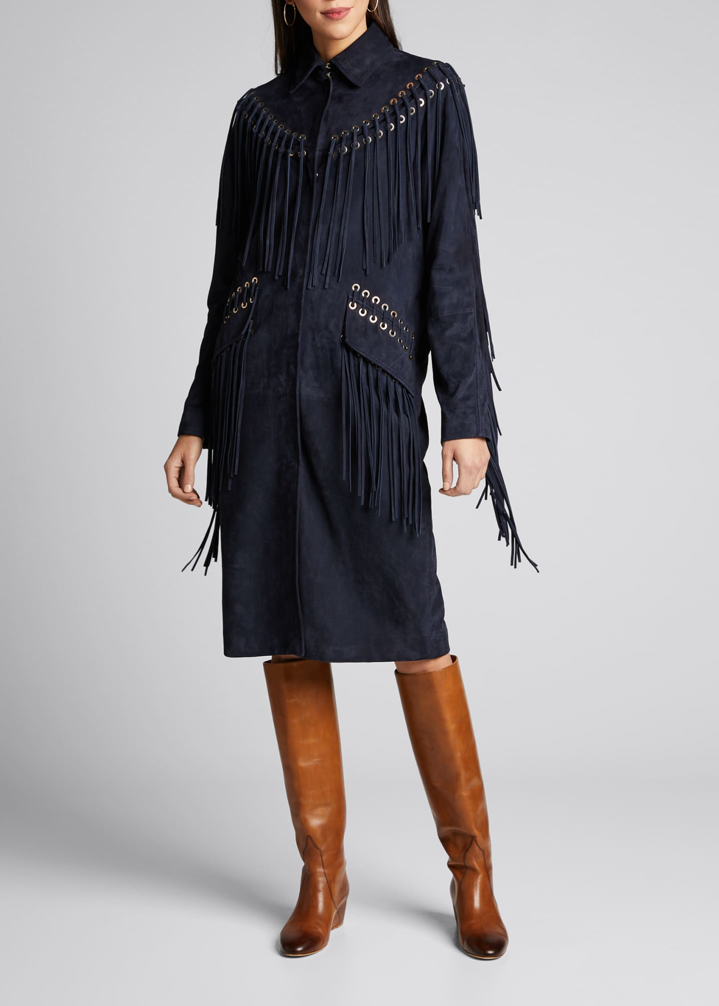 Image 1 of 4: Calgary Fringed Suede Coat