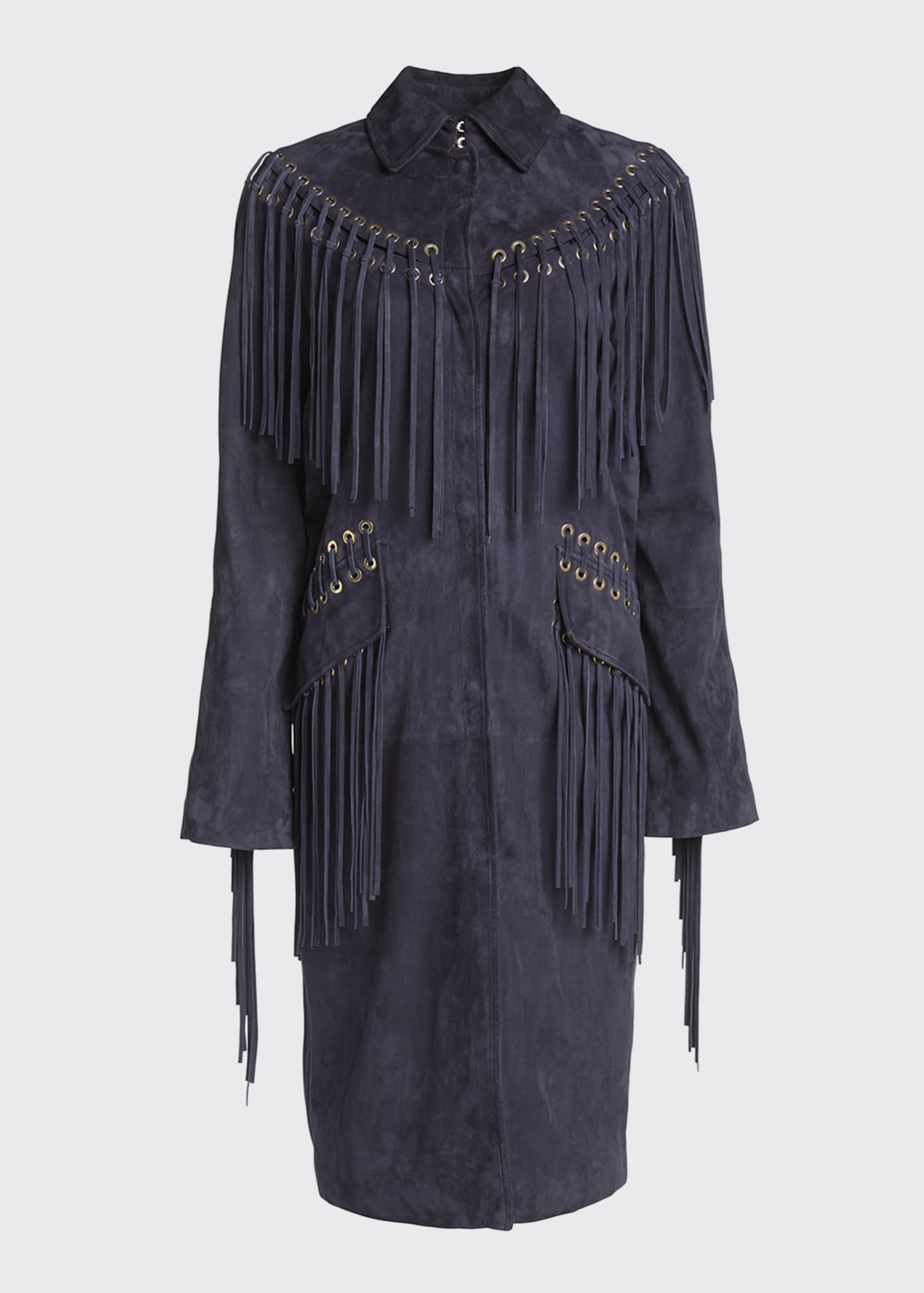 Image 4 of 4: Calgary Fringed Suede Coat