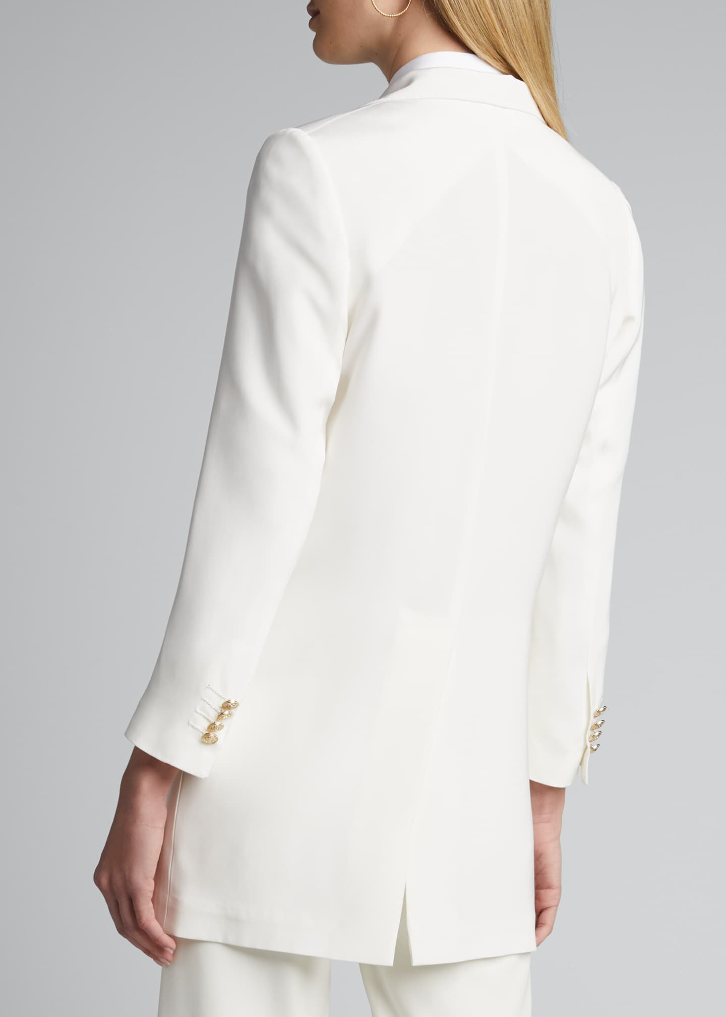 Image 2 of 5: Long Silk One-Button Jacket