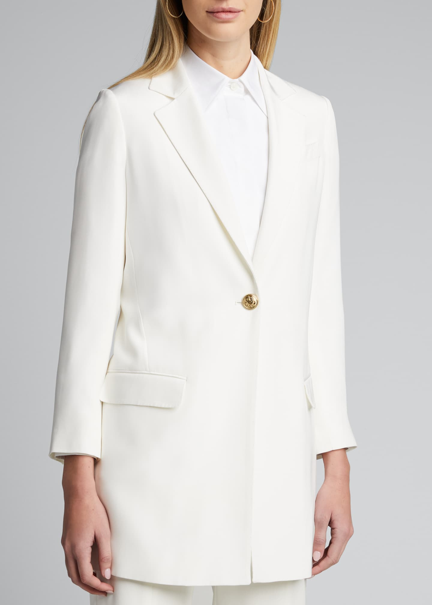 Image 3 of 5: Long Silk One-Button Jacket