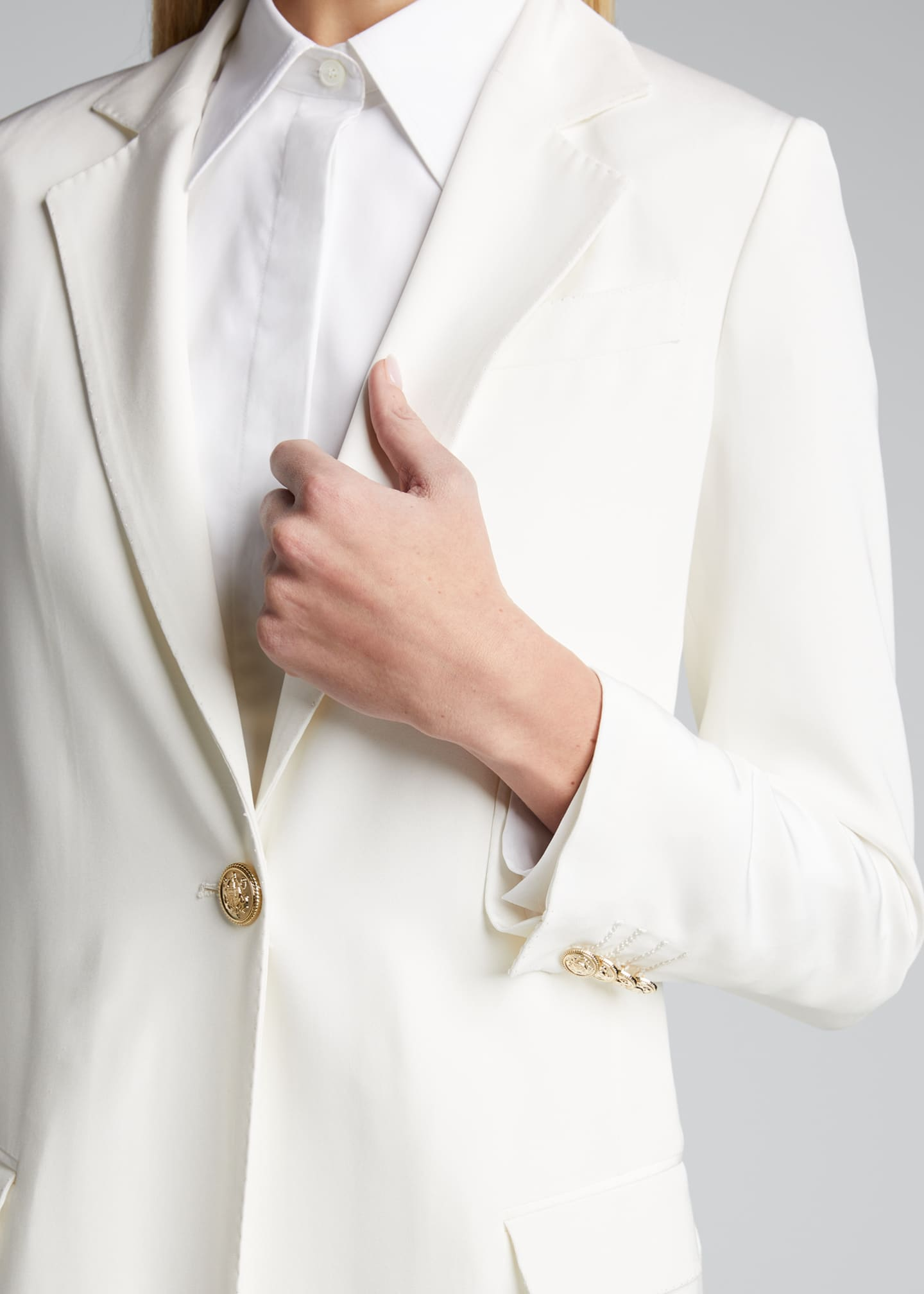 Image 4 of 5: Long Silk One-Button Jacket