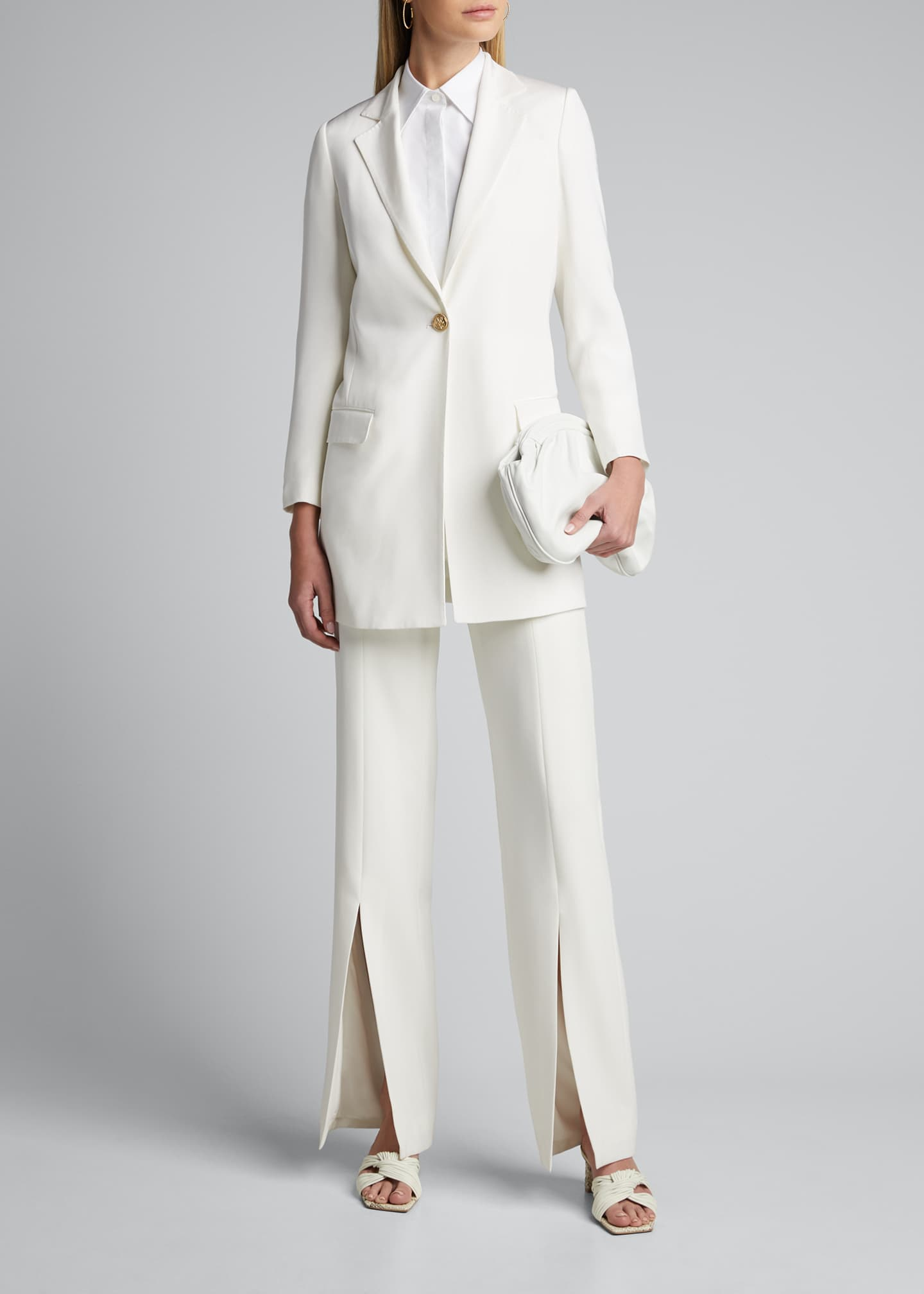 Image 1 of 5: Long Silk One-Button Jacket