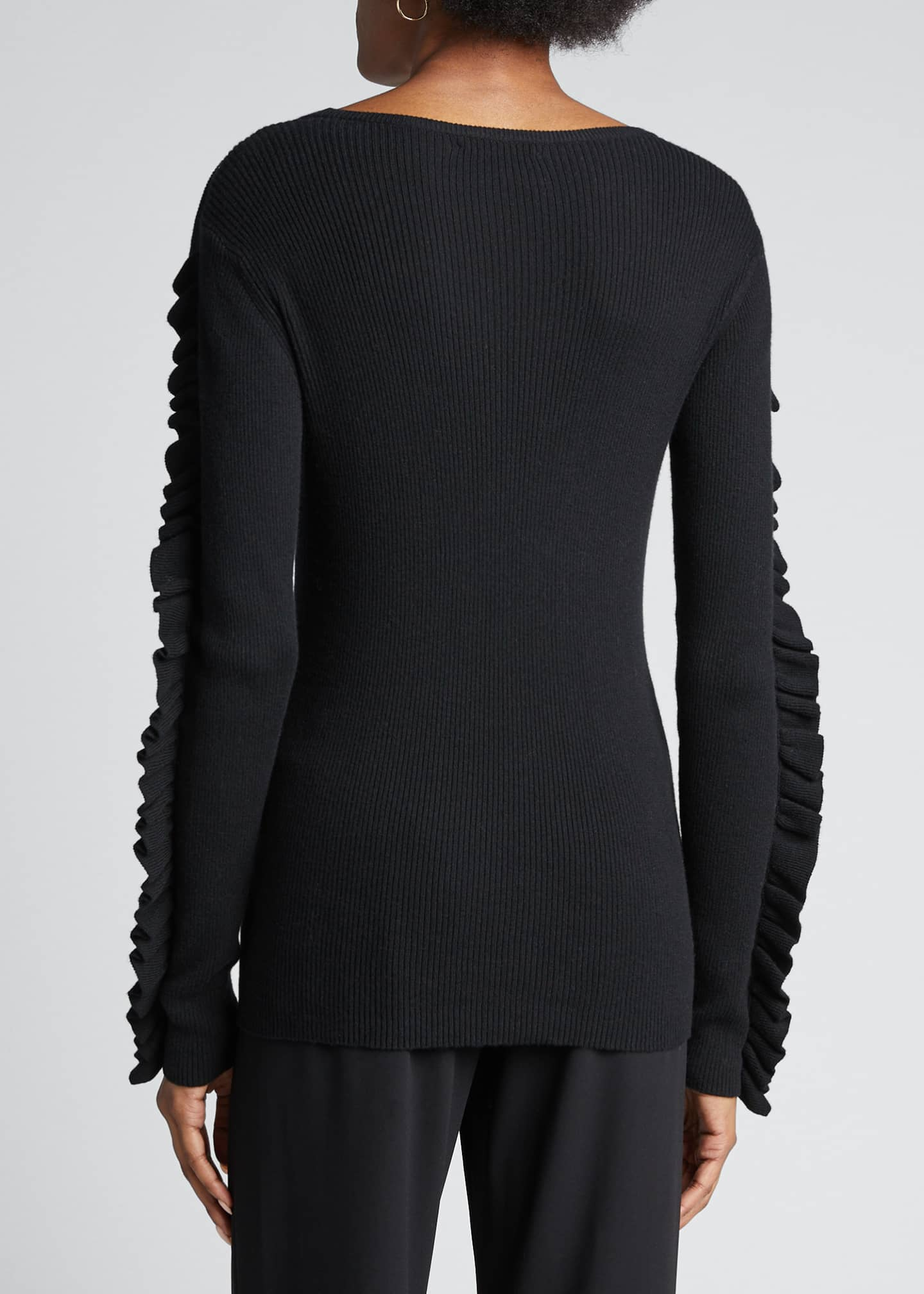 Image 2 of 5: Ribbed Crewneck Pullover with Ruffle Trim