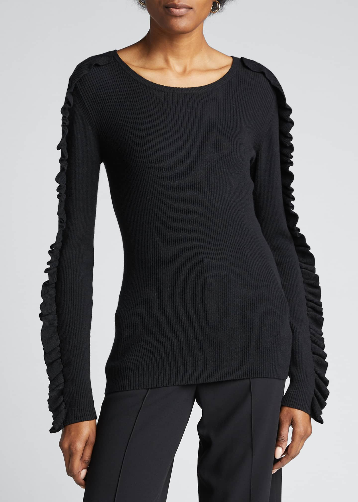Image 3 of 5: Ribbed Crewneck Pullover with Ruffle Trim