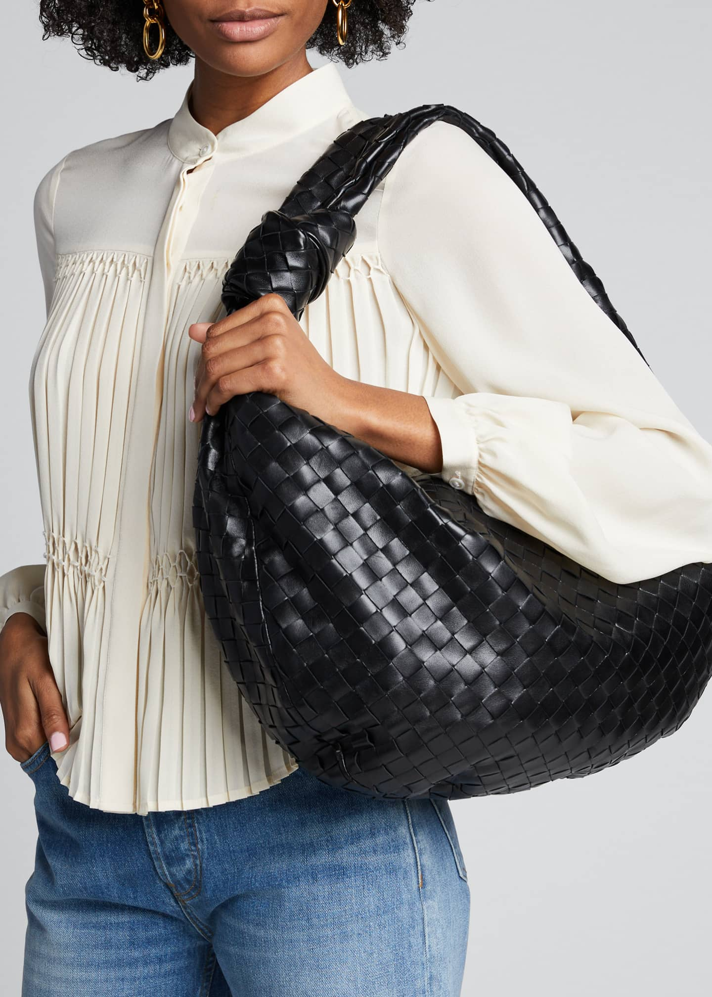 Image 2 of 5: Intrecciato Woven Leather Large Hobo Bag