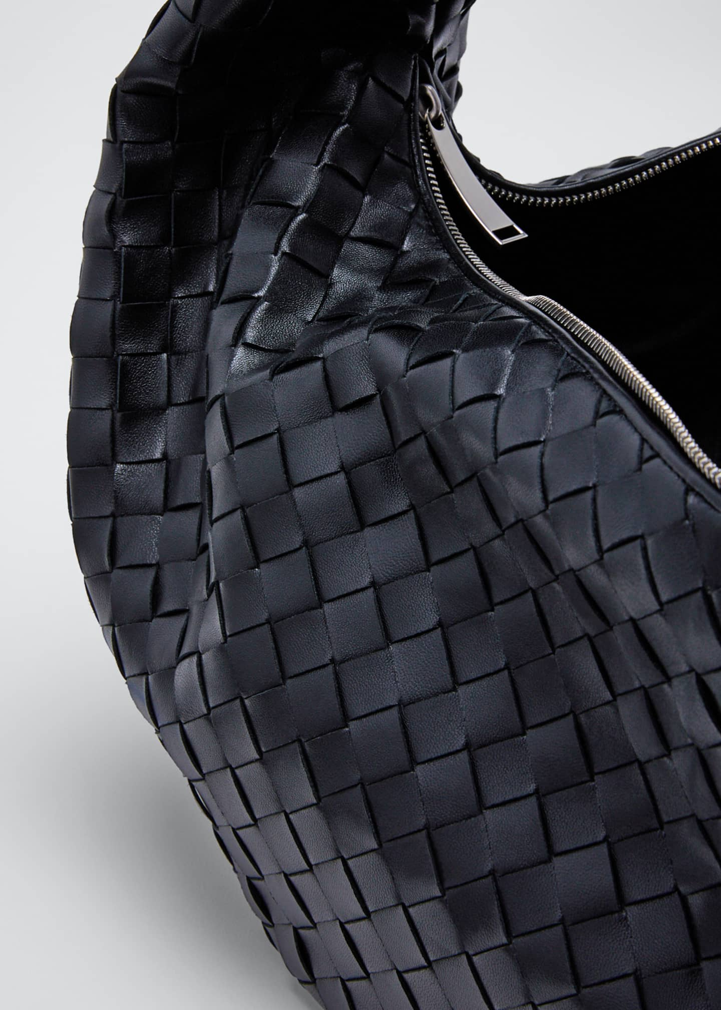 Image 4 of 5: Intrecciato Woven Leather Large Hobo Bag