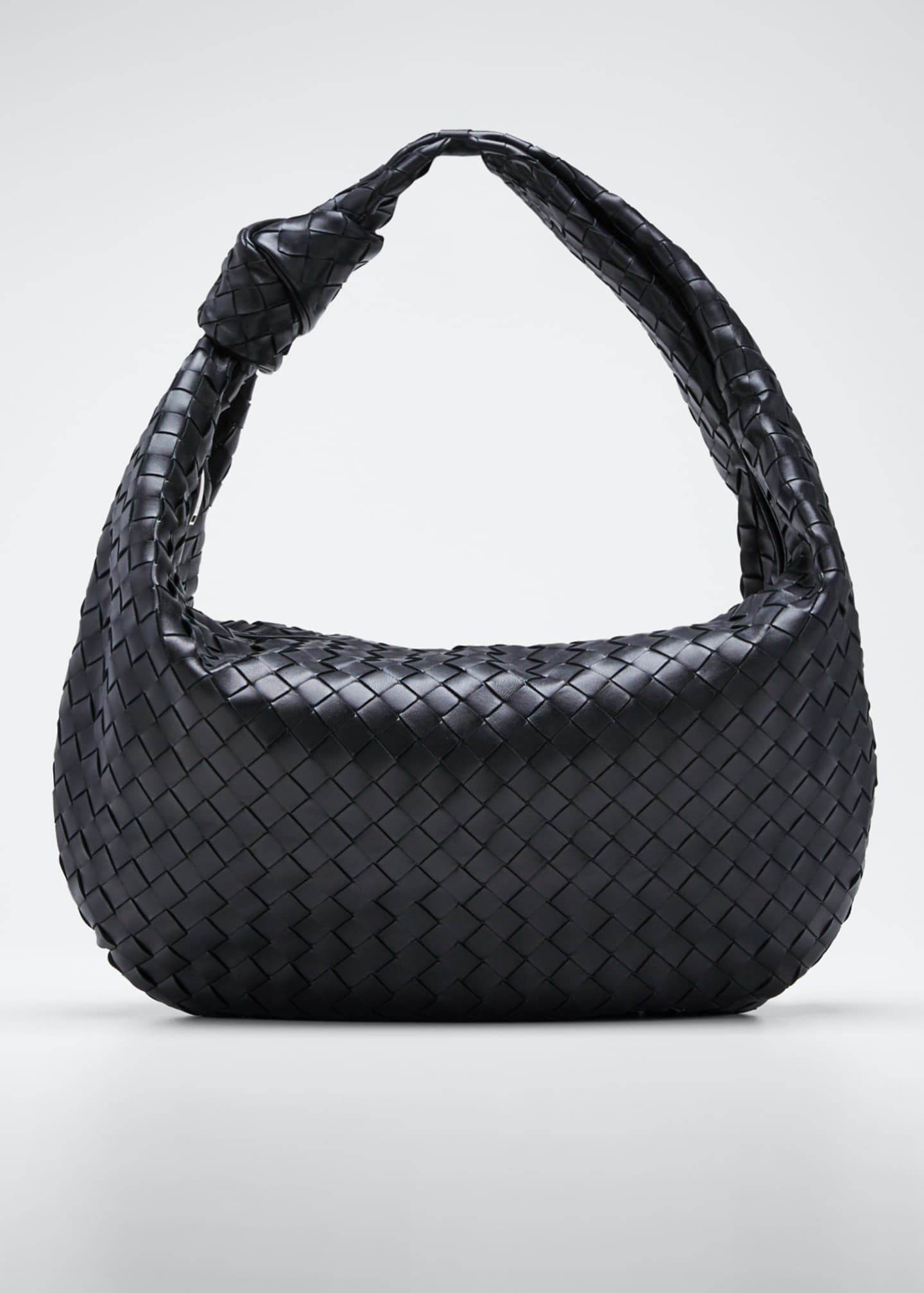 Image 1 of 5: Intrecciato Woven Leather Large Hobo Bag