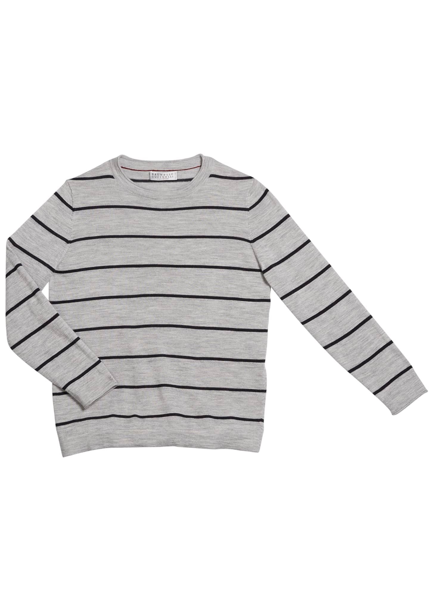 Brunello Cucinelli Boy's Striped Fine Gauge Wool/Cashmere