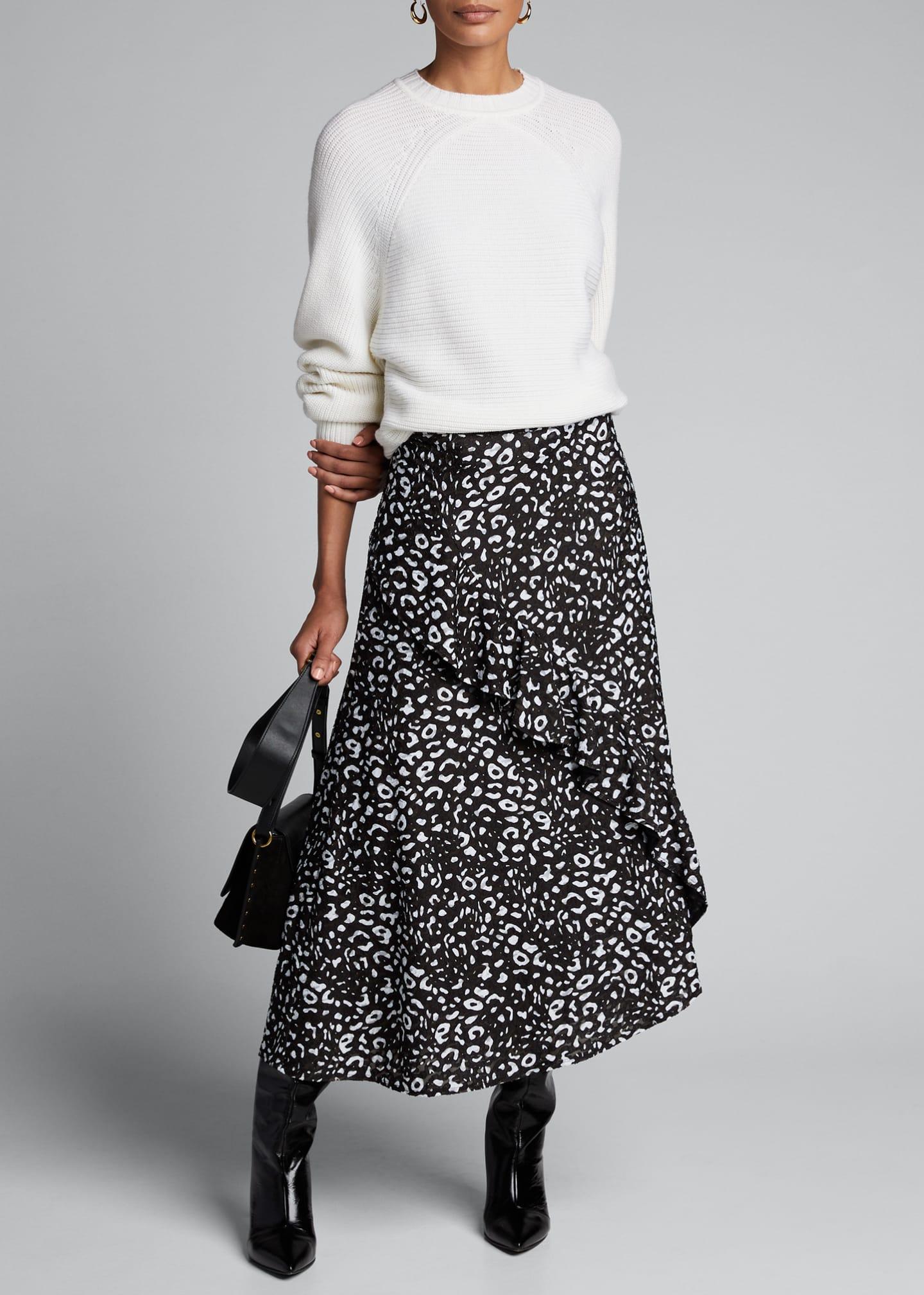 Fuzzi Poppy Ruffle-Front Asymmetric Skirt